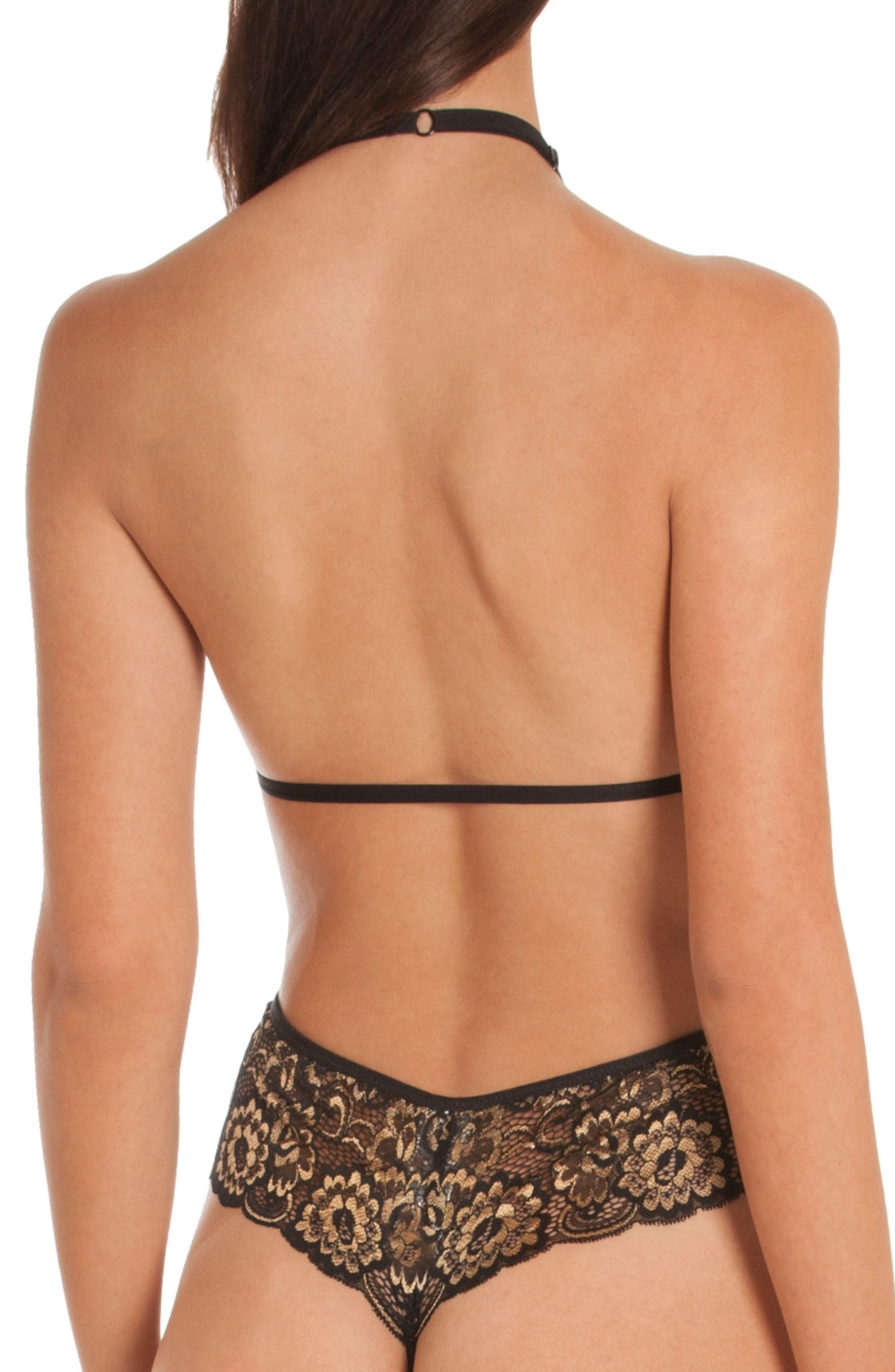 Laila Lace Thong Teddy,                             Alternate thumbnail 2, color,                             Black/ Gold