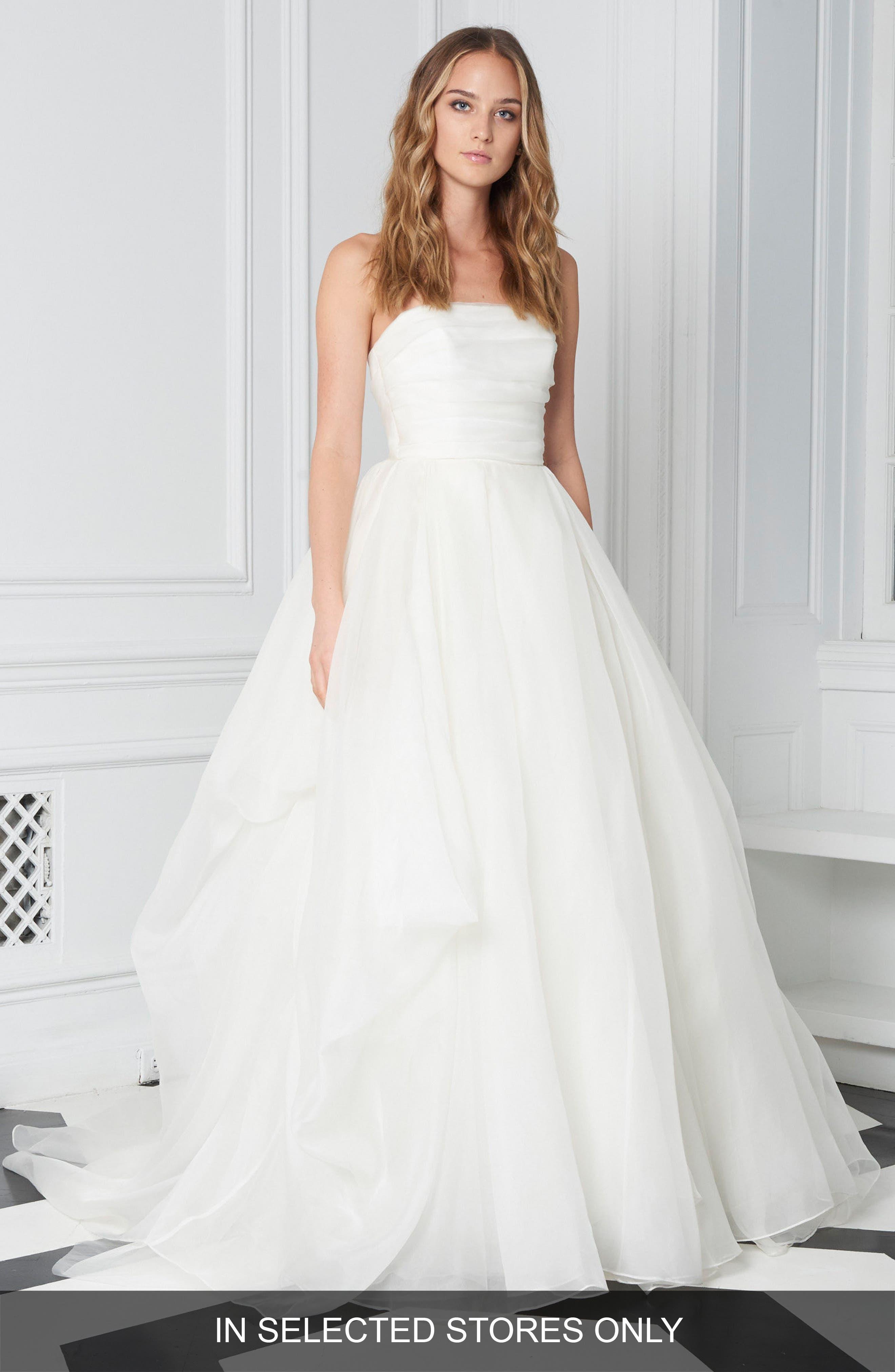Strapless Organza Ballgown,                         Main,                         color, Silk White