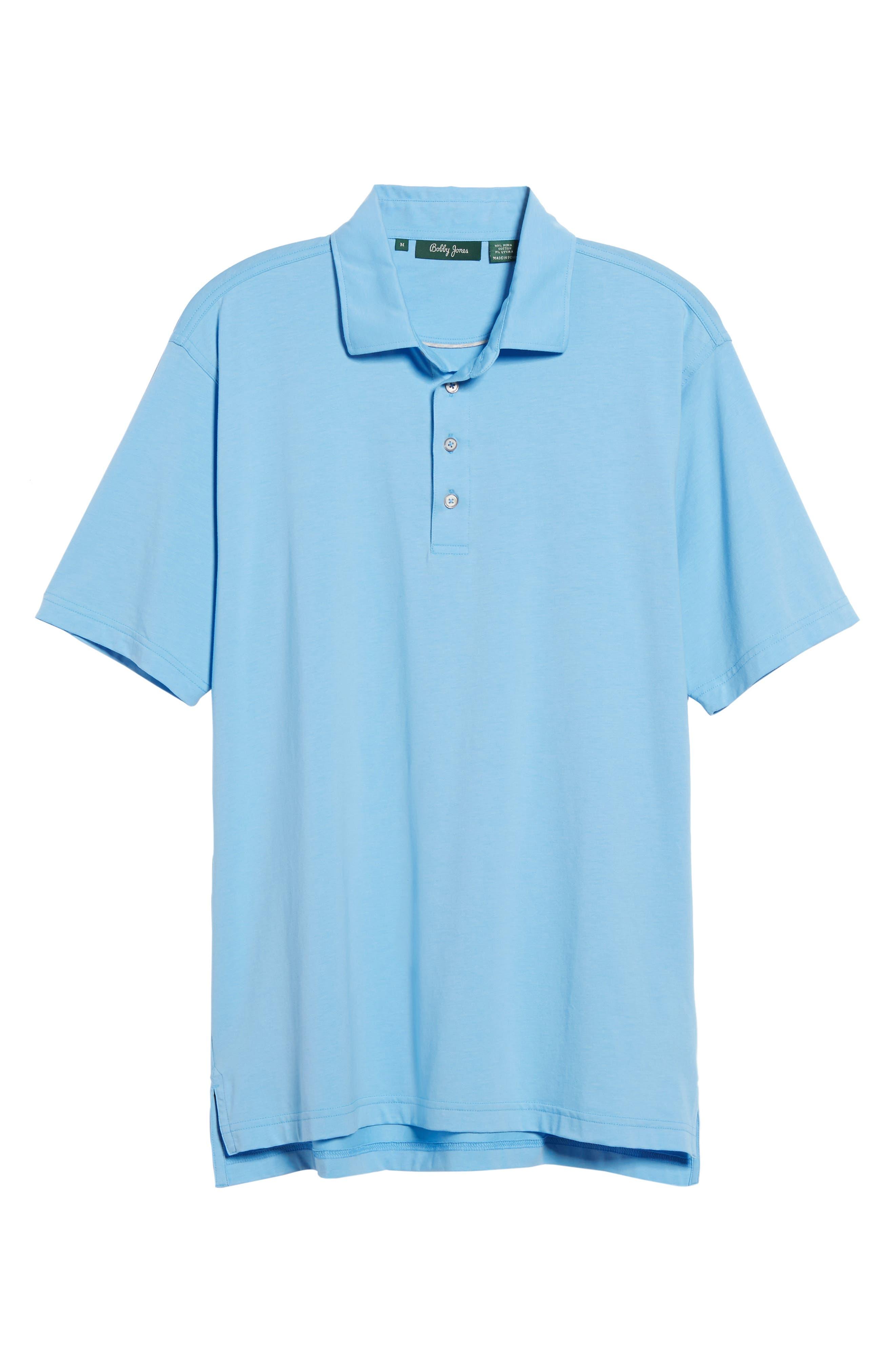 Liquid Cotton Stretch Jersey Polo,                             Main thumbnail 1, color,                             Sky Blue