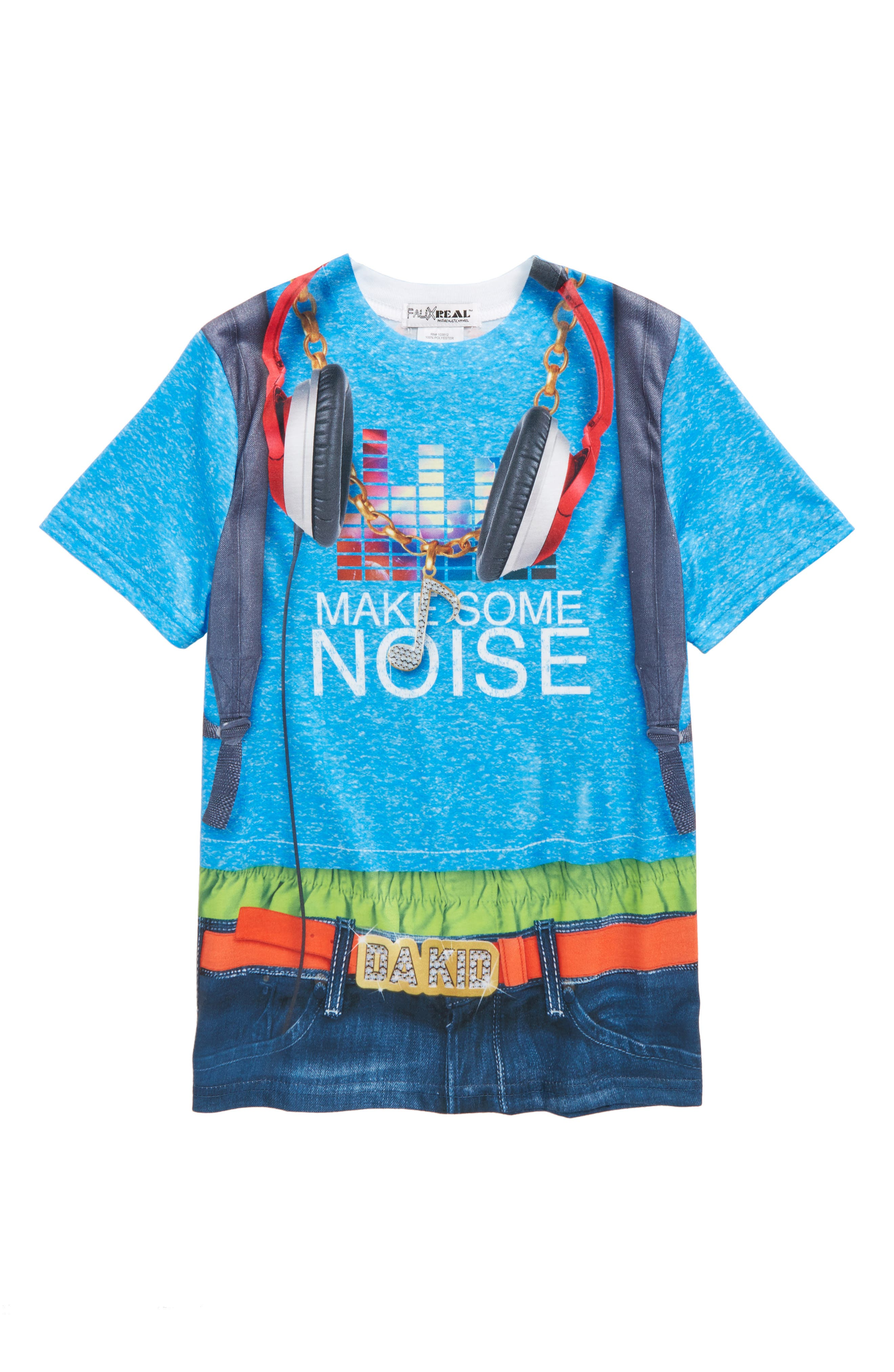Headphones Print T-Shirt,                             Main thumbnail 1, color,                             Blue