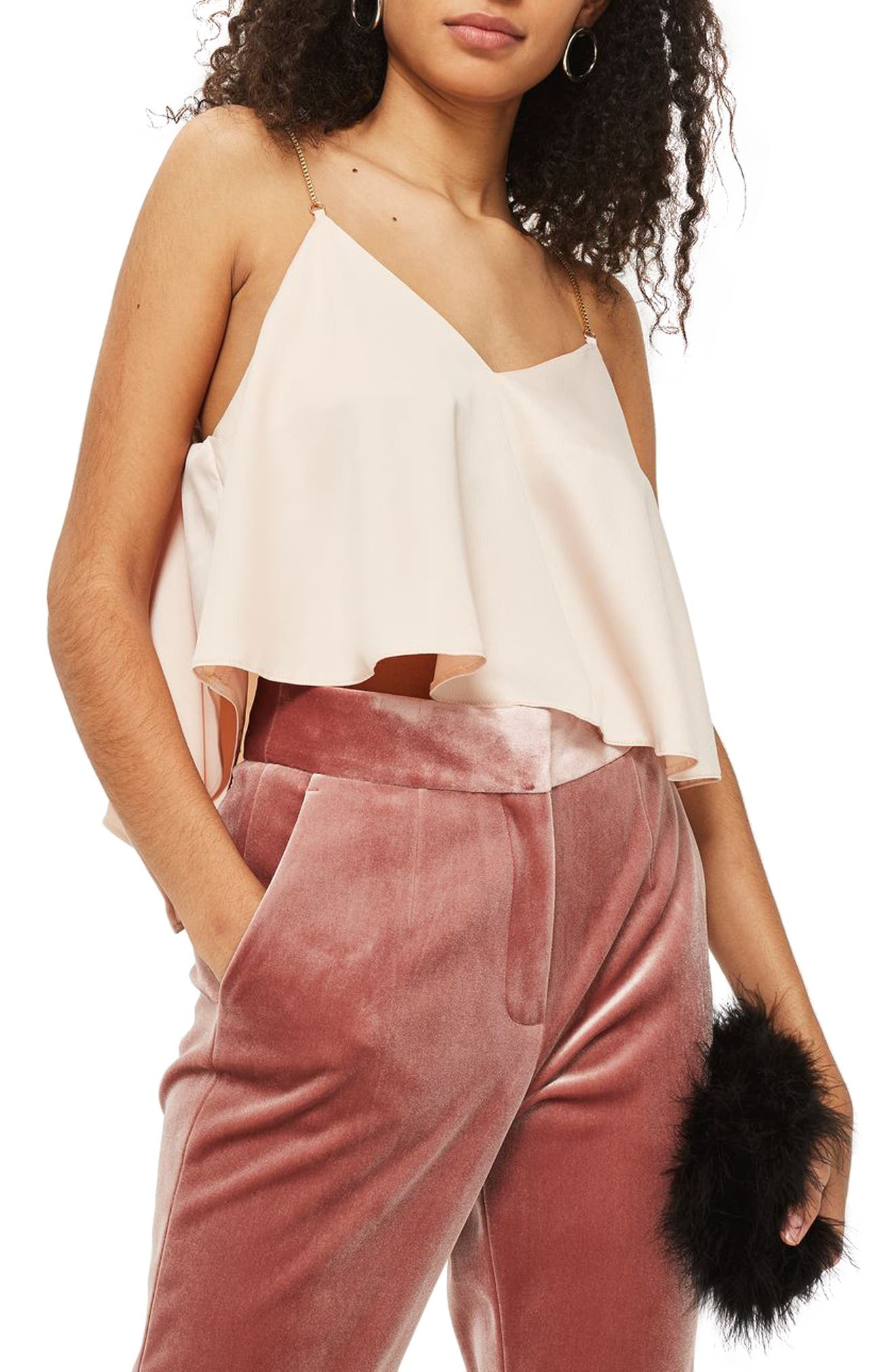 Chain Strap Camisole Top,                             Main thumbnail 1, color,                             Nude