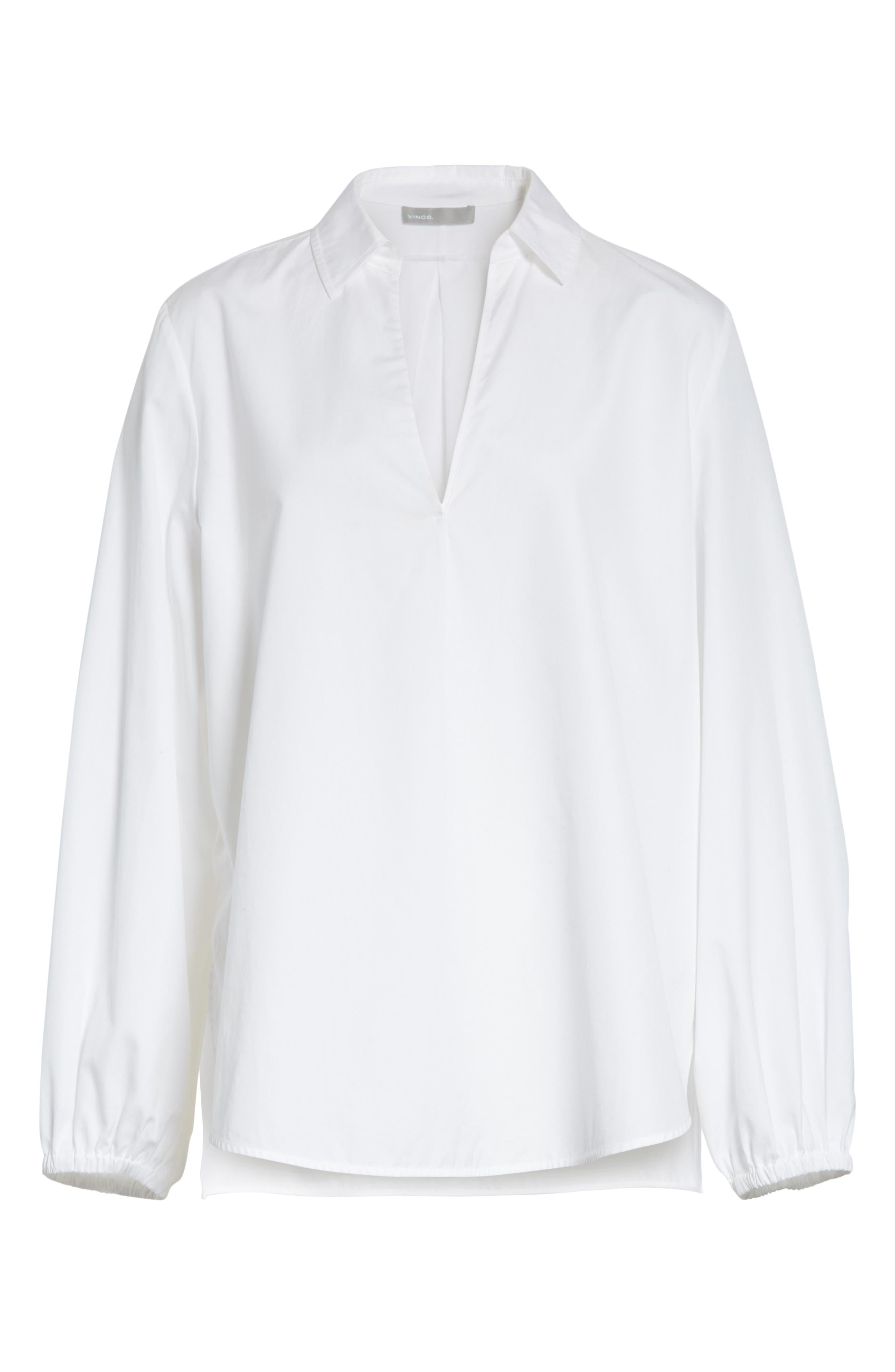 Swing Front Pullover Shirt,                             Alternate thumbnail 6, color,                             Optic White