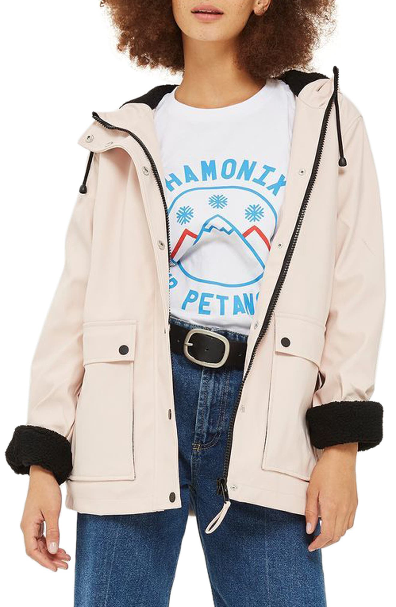 Hooded Raincoat,                         Main,                         color, Light Pink Multi