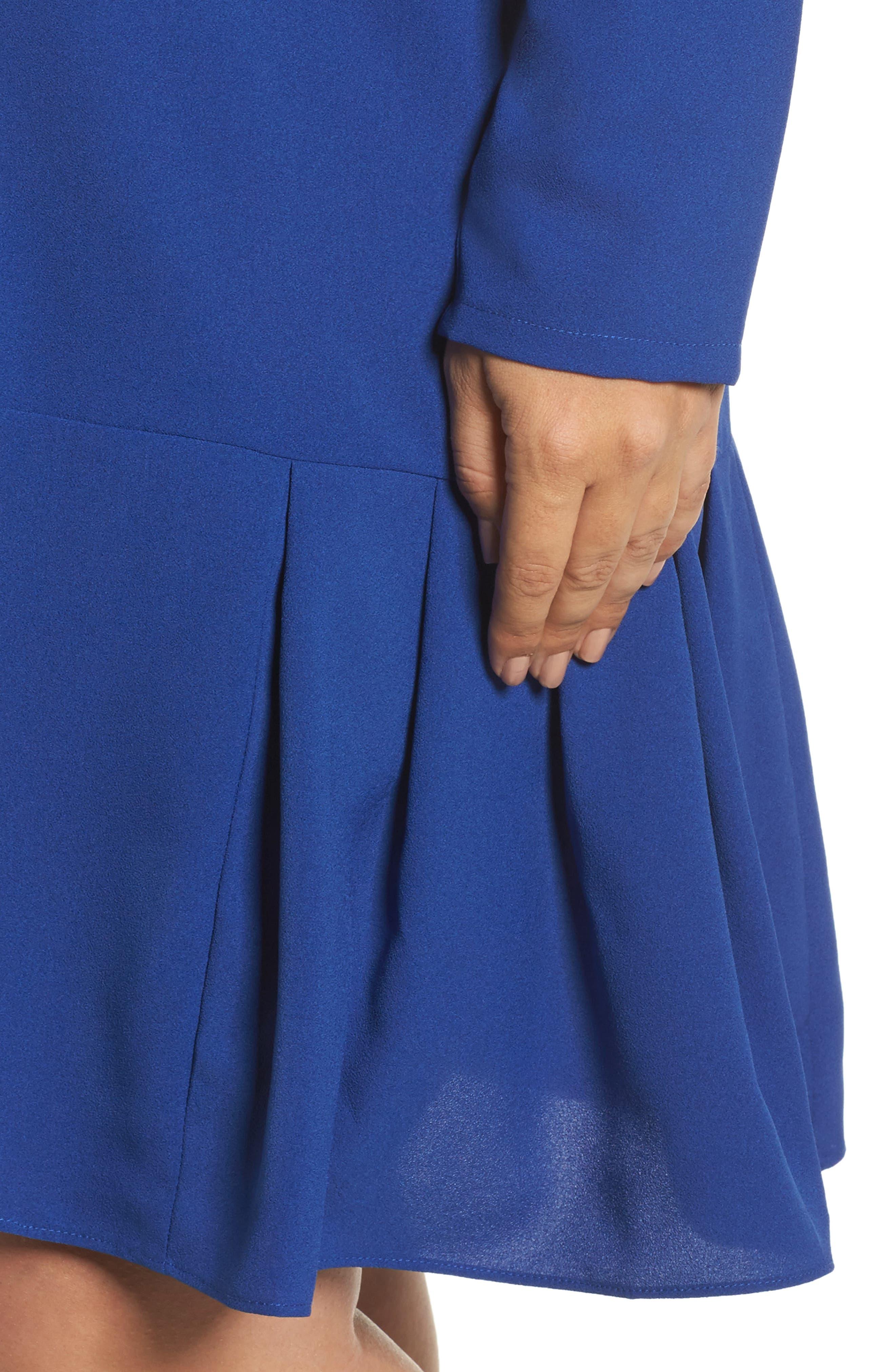 Long Sleeve Shift Dress,                             Alternate thumbnail 4, color,                             Cobalt