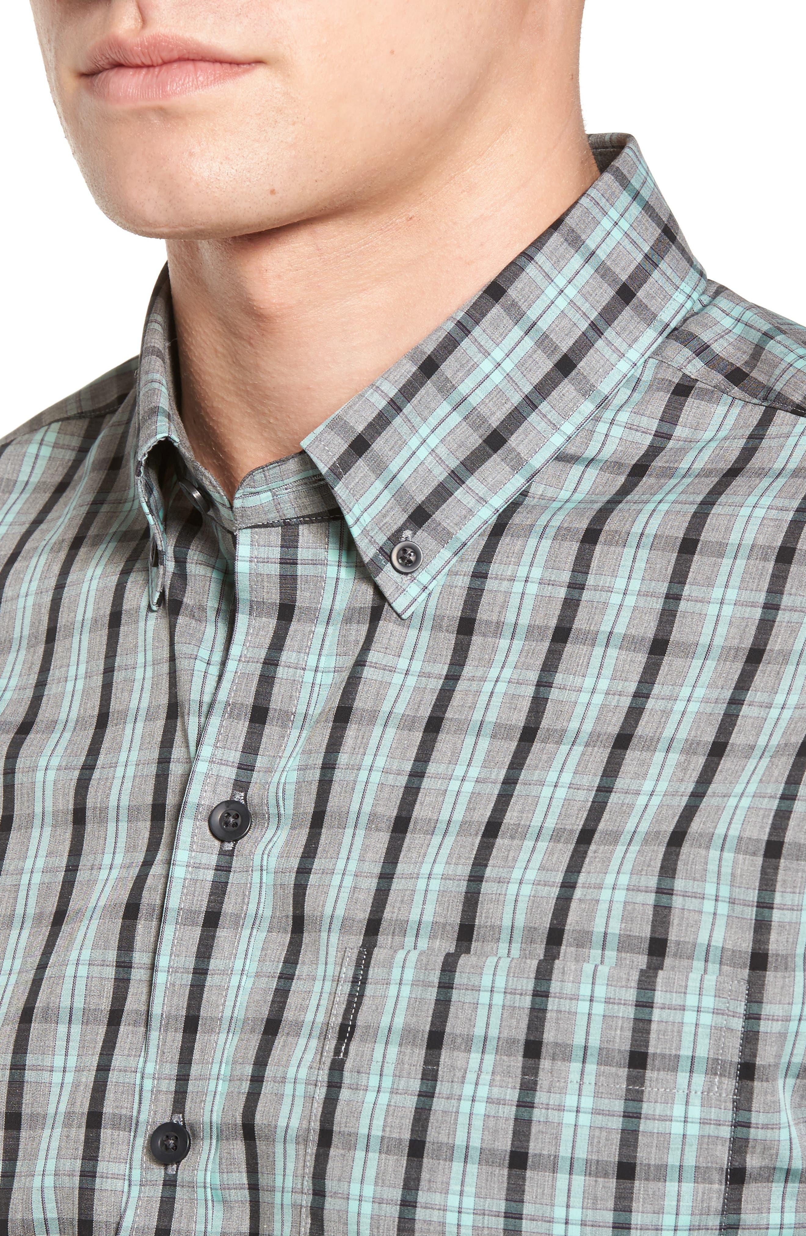 Davis Non-Iron Plaid Sport Shirt,                             Alternate thumbnail 4, color,                             Aquastone