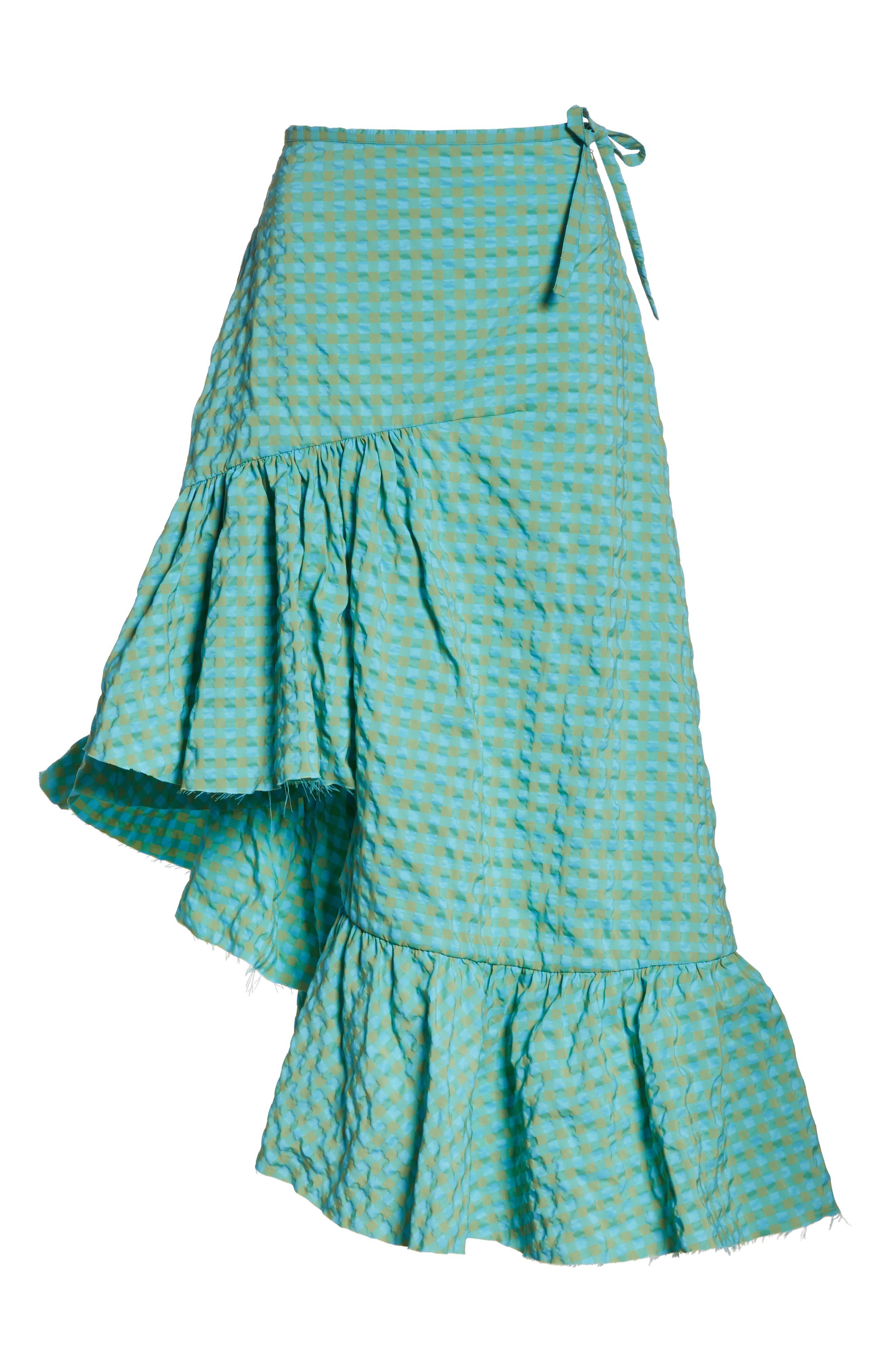 Marques'Almeida Long Asymmetrical Frill Skirt,                             Alternate thumbnail 6, color,                             Turquoise Gingham