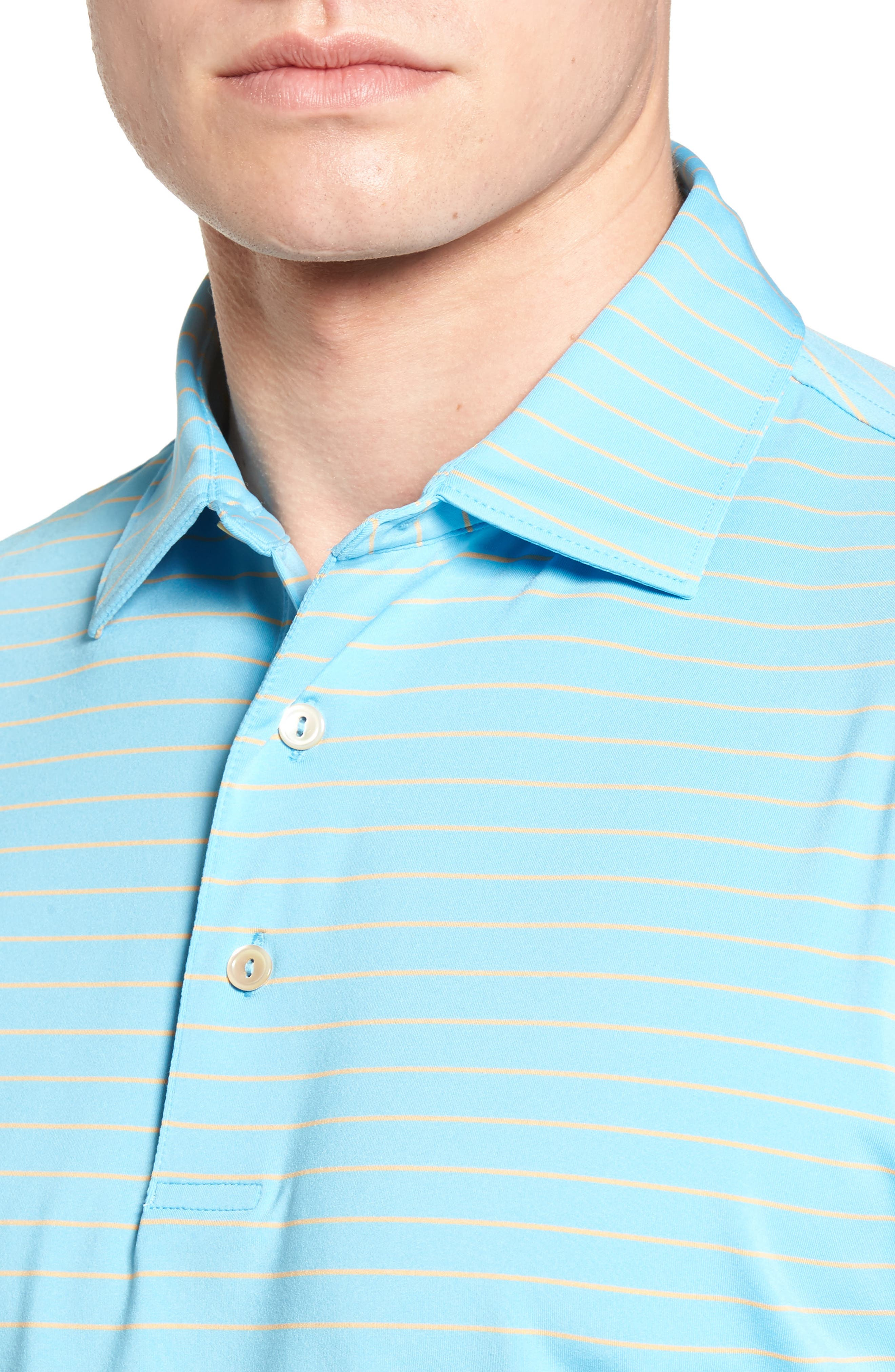 Halifax Pinstripe Stretch Jersey Polo,                             Alternate thumbnail 4, color,                             Grotto Blue