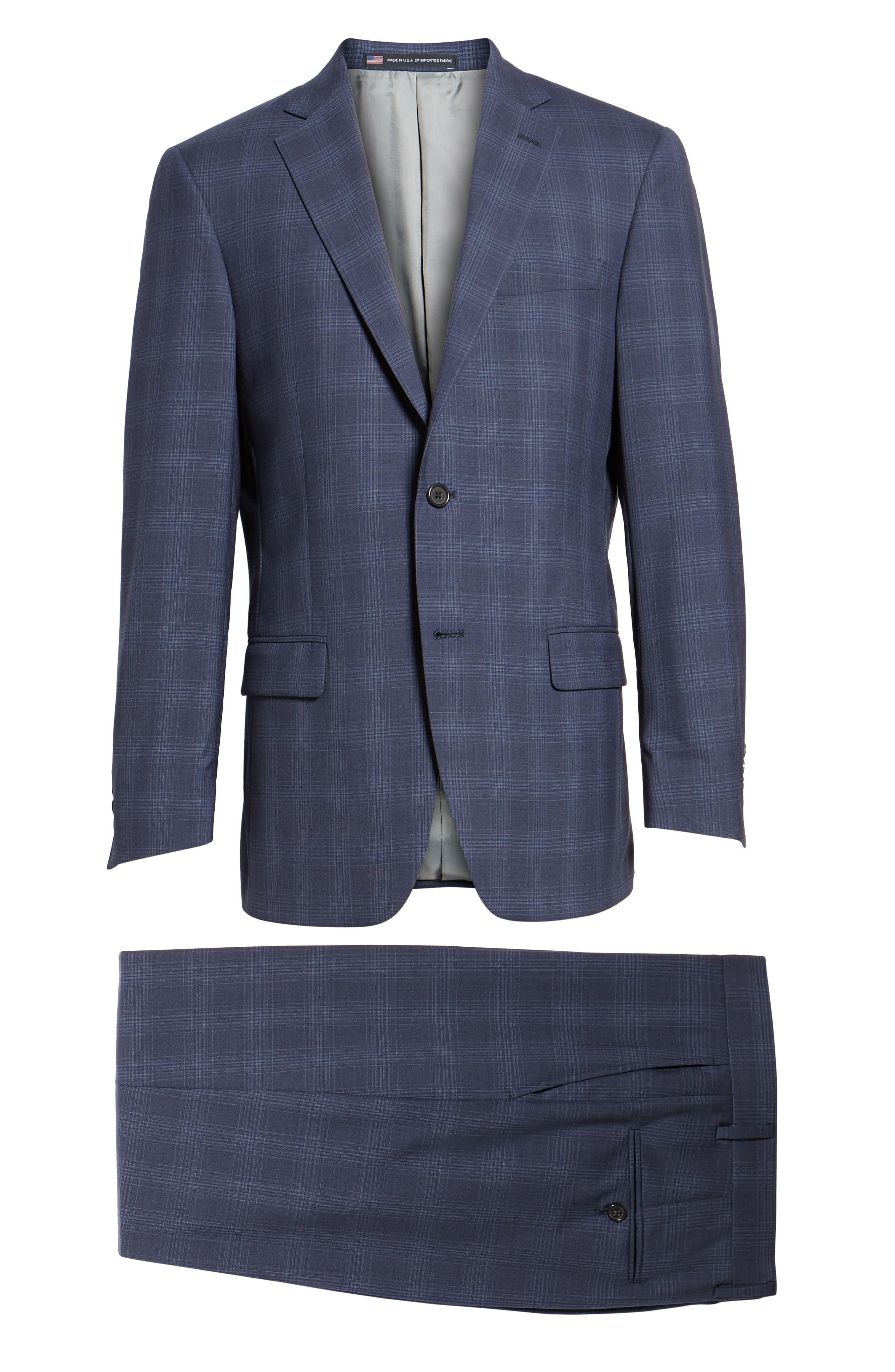 Classic Fit Plaid Wool Suit,                             Alternate thumbnail 8, color,                             Navy