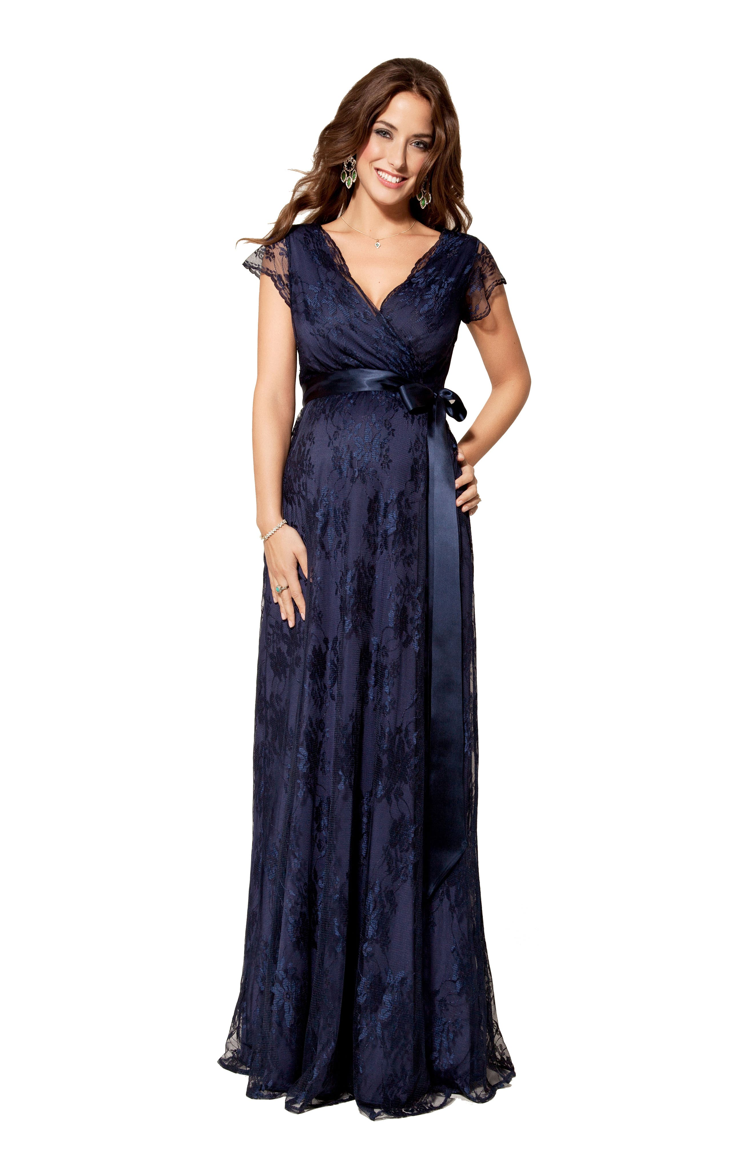 Eden Lace Maternity Gown,                             Alternate thumbnail 4, color,                             Arabian Nights