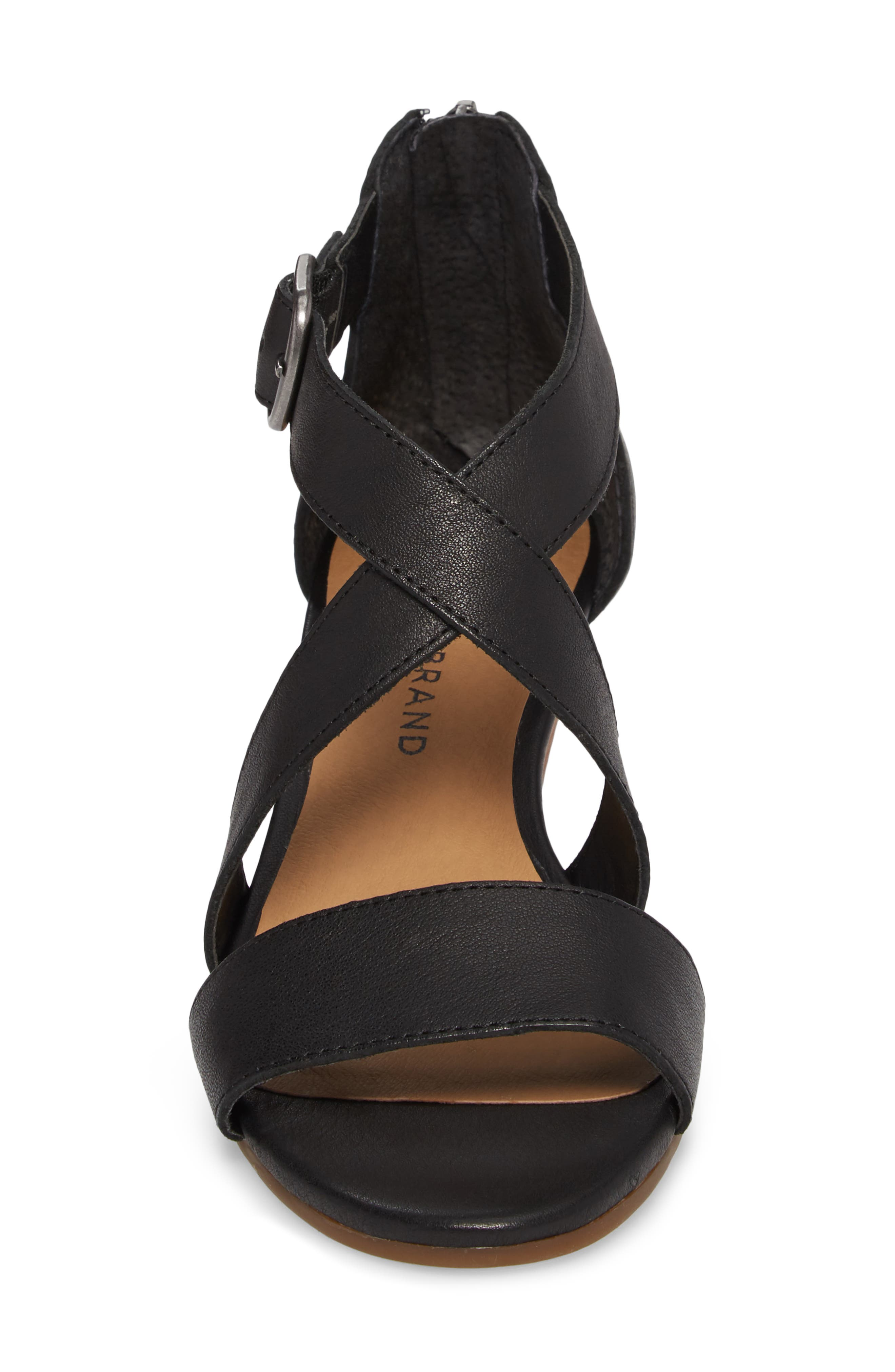 Jestah Wedge Sandal,                             Alternate thumbnail 4, color,                             Black Leather