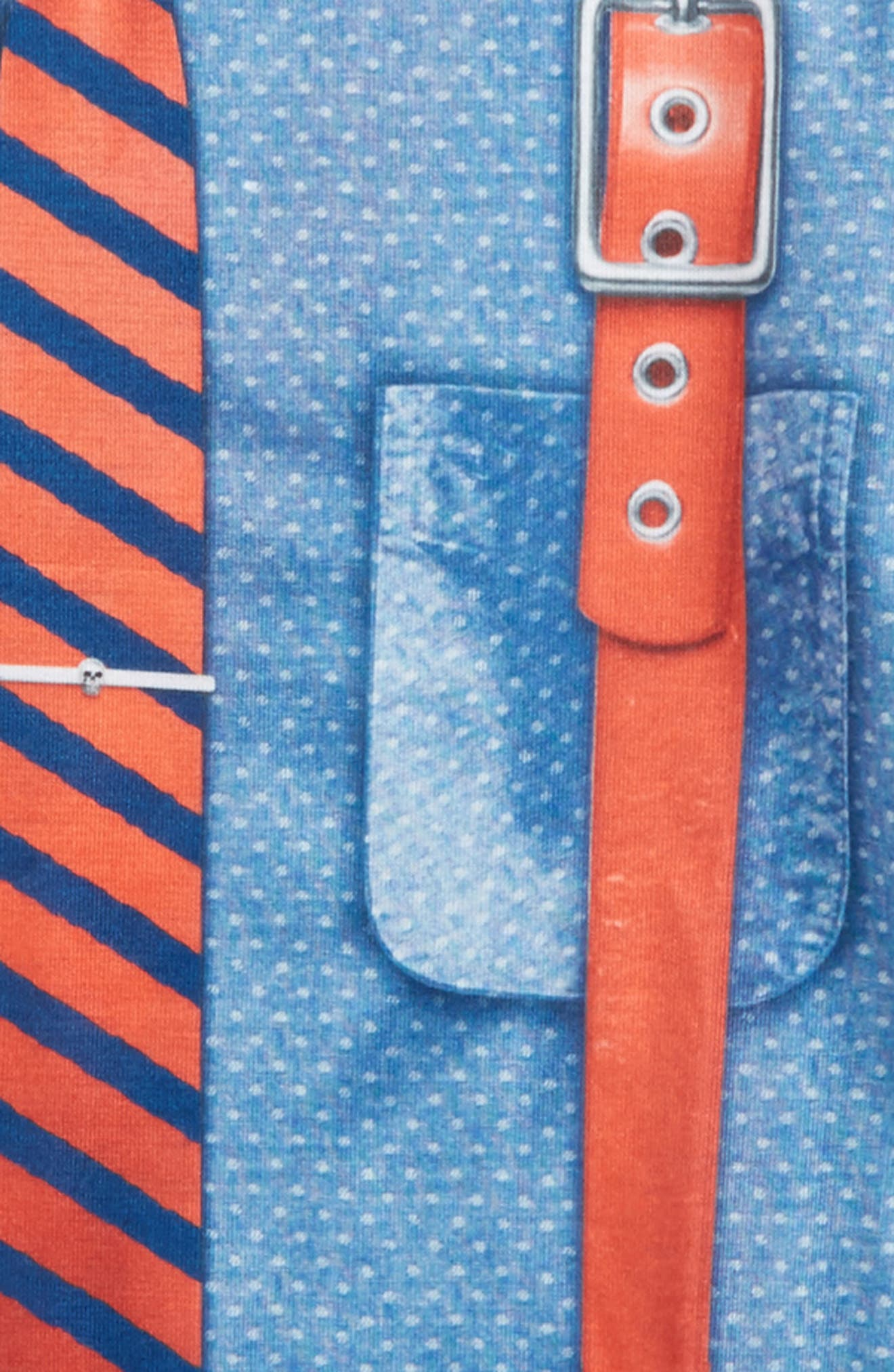 Hipster Tie & Suspenders T-Shirt with Tattoo Print Sleeves,                             Alternate thumbnail 2, color,                             Blue/ Red