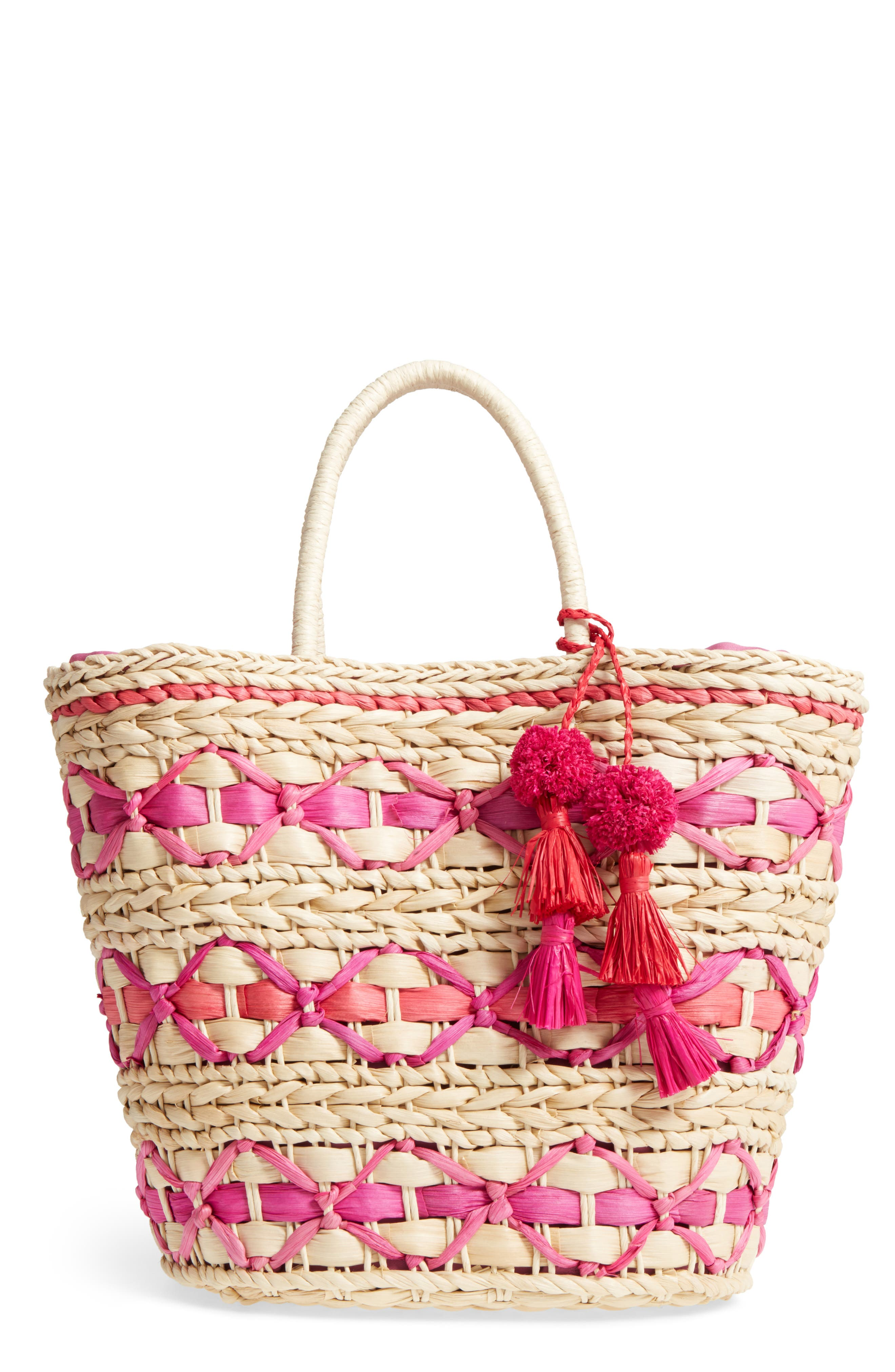 Color Pop Woven Tote,                             Main thumbnail 1, color,                             Natural