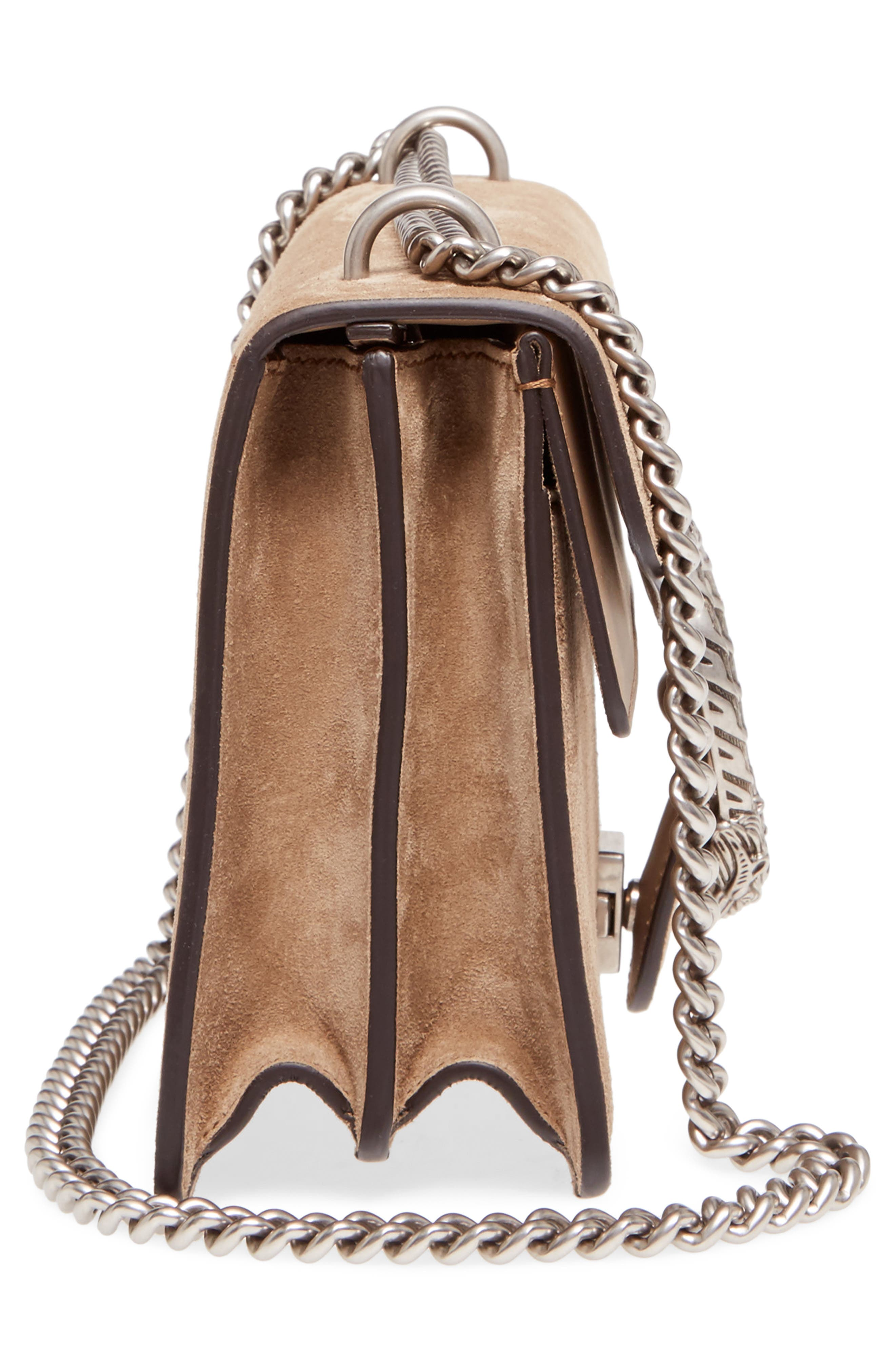 Small Dionysus Suede Shoulder Bag,                             Alternate thumbnail 5, color,                             Taupe