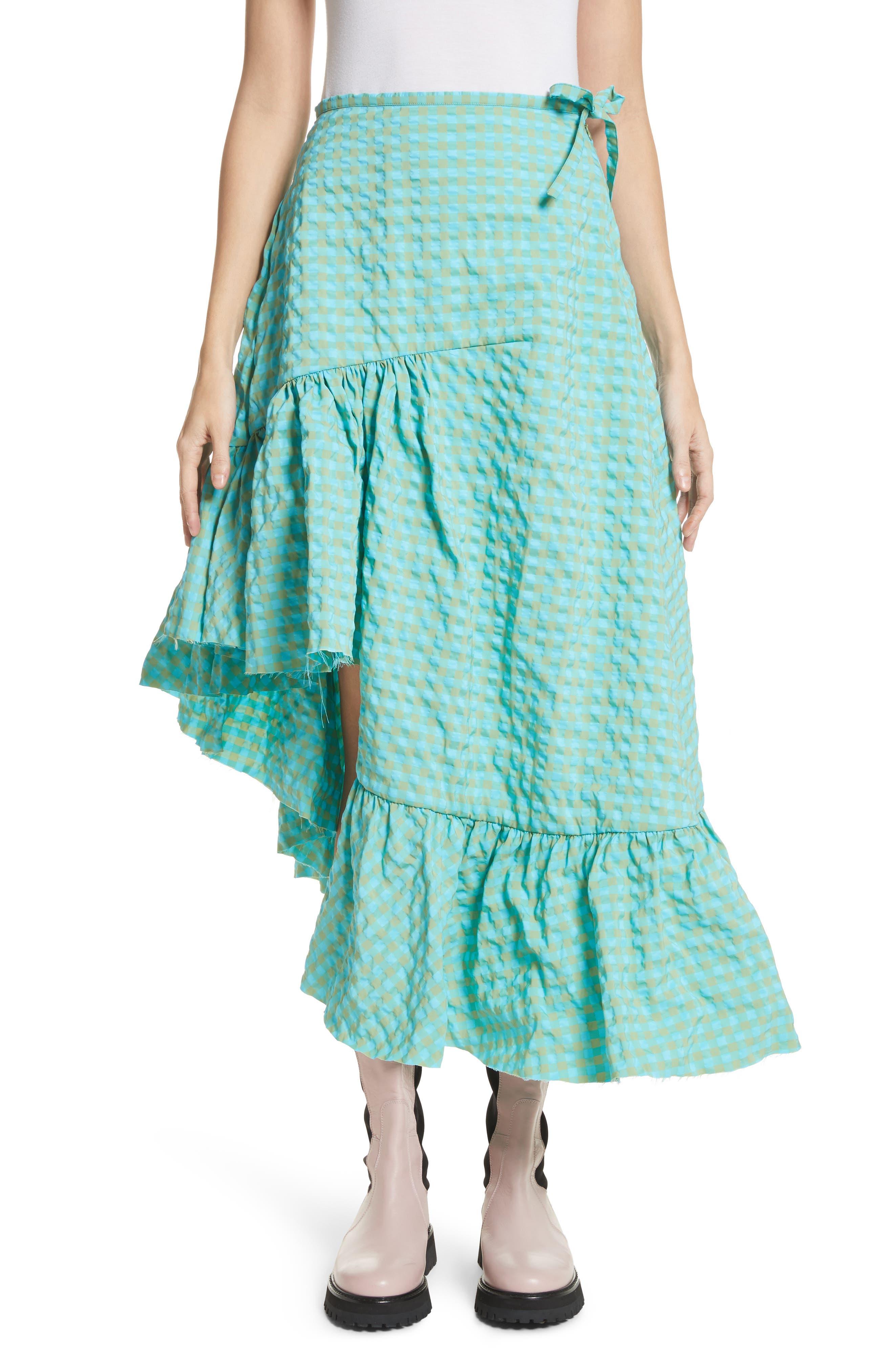 Marques'Almeida Long Asymmetrical Frill Skirt,                             Main thumbnail 1, color,                             Turquoise Gingham