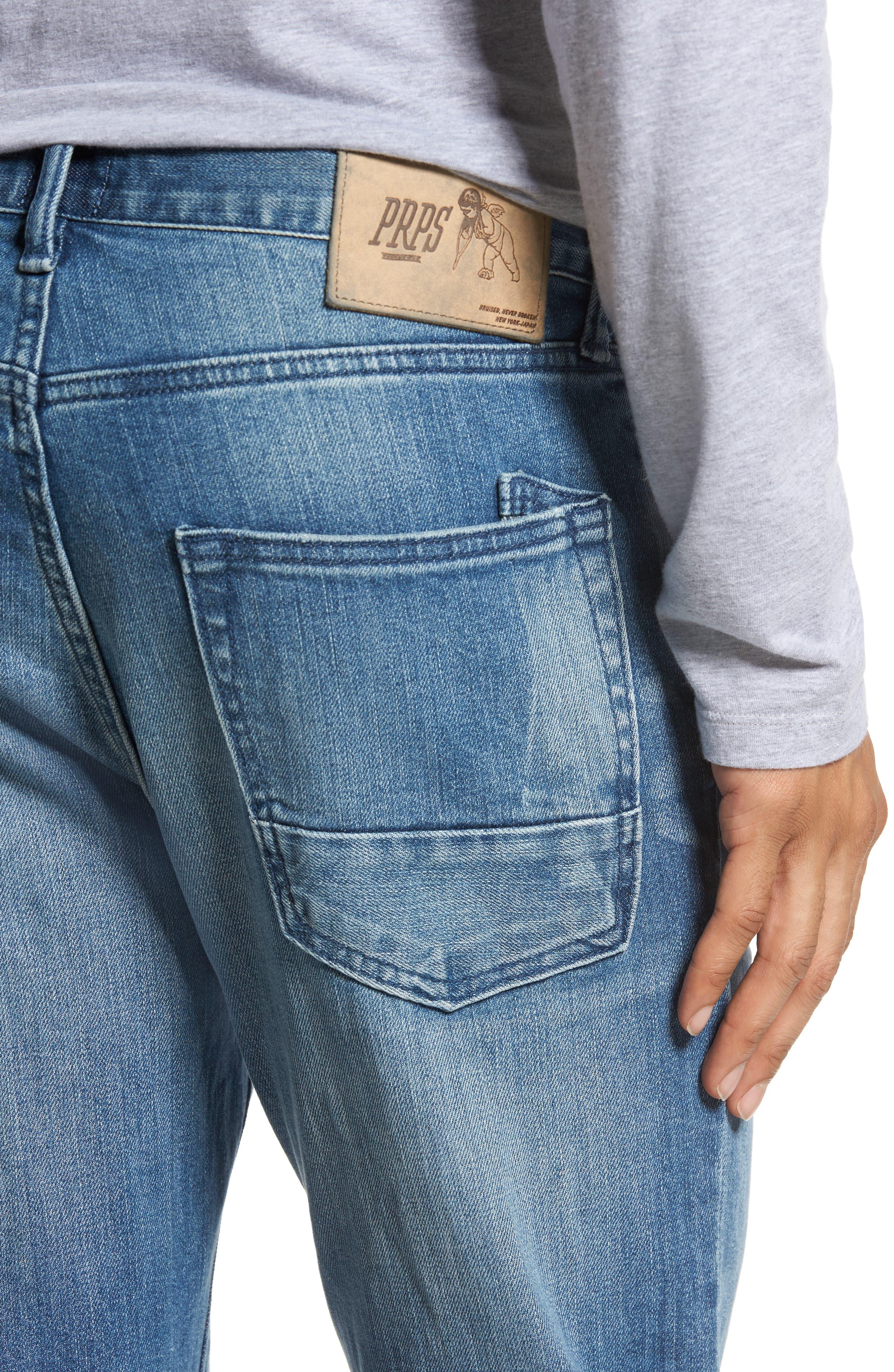 Denim Slim Straight Leg Jeans,                             Alternate thumbnail 4, color,                             Light Blue