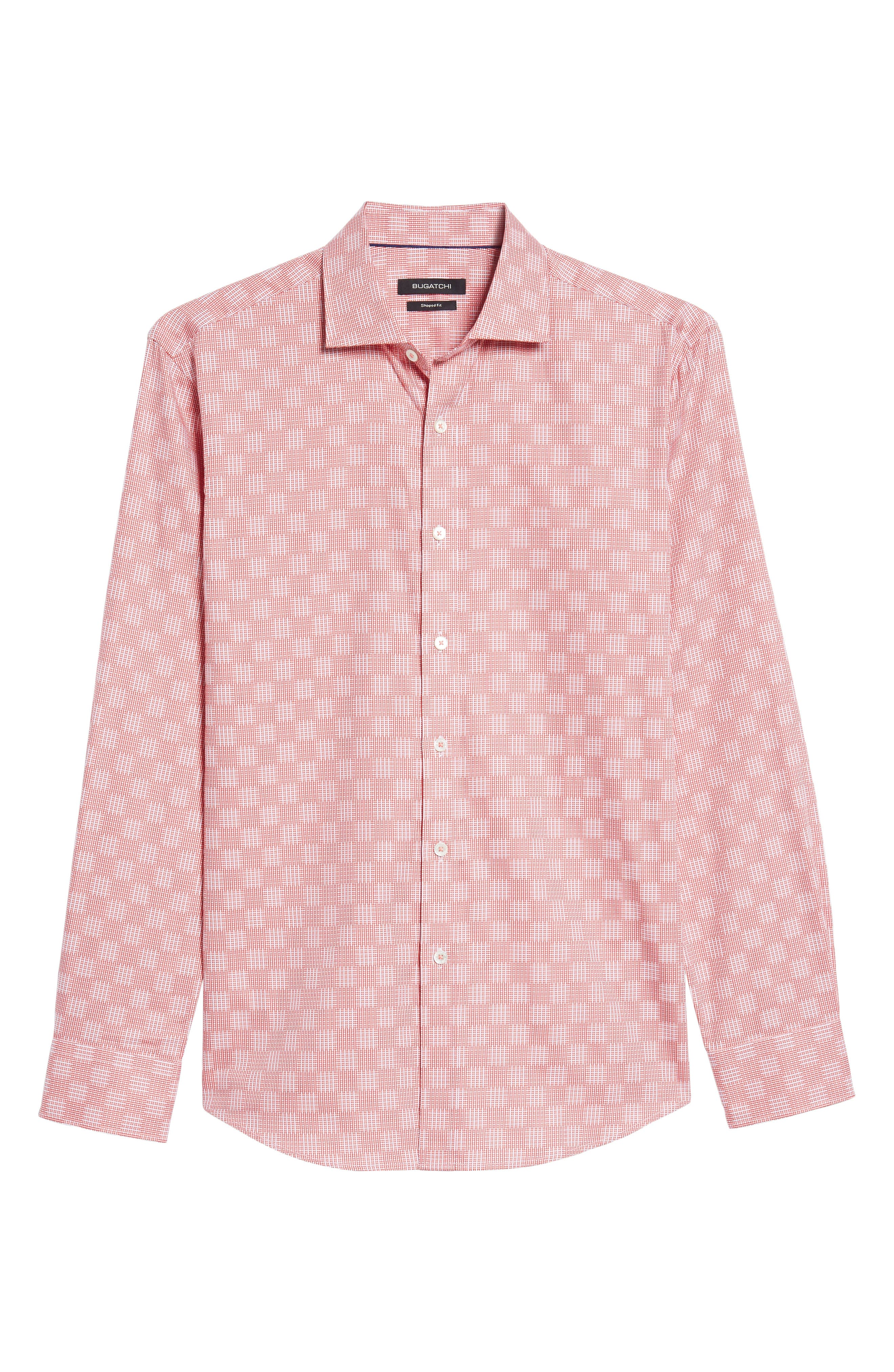 Shaped Fit Print Sport Shirt,                             Alternate thumbnail 6, color,                             Coral