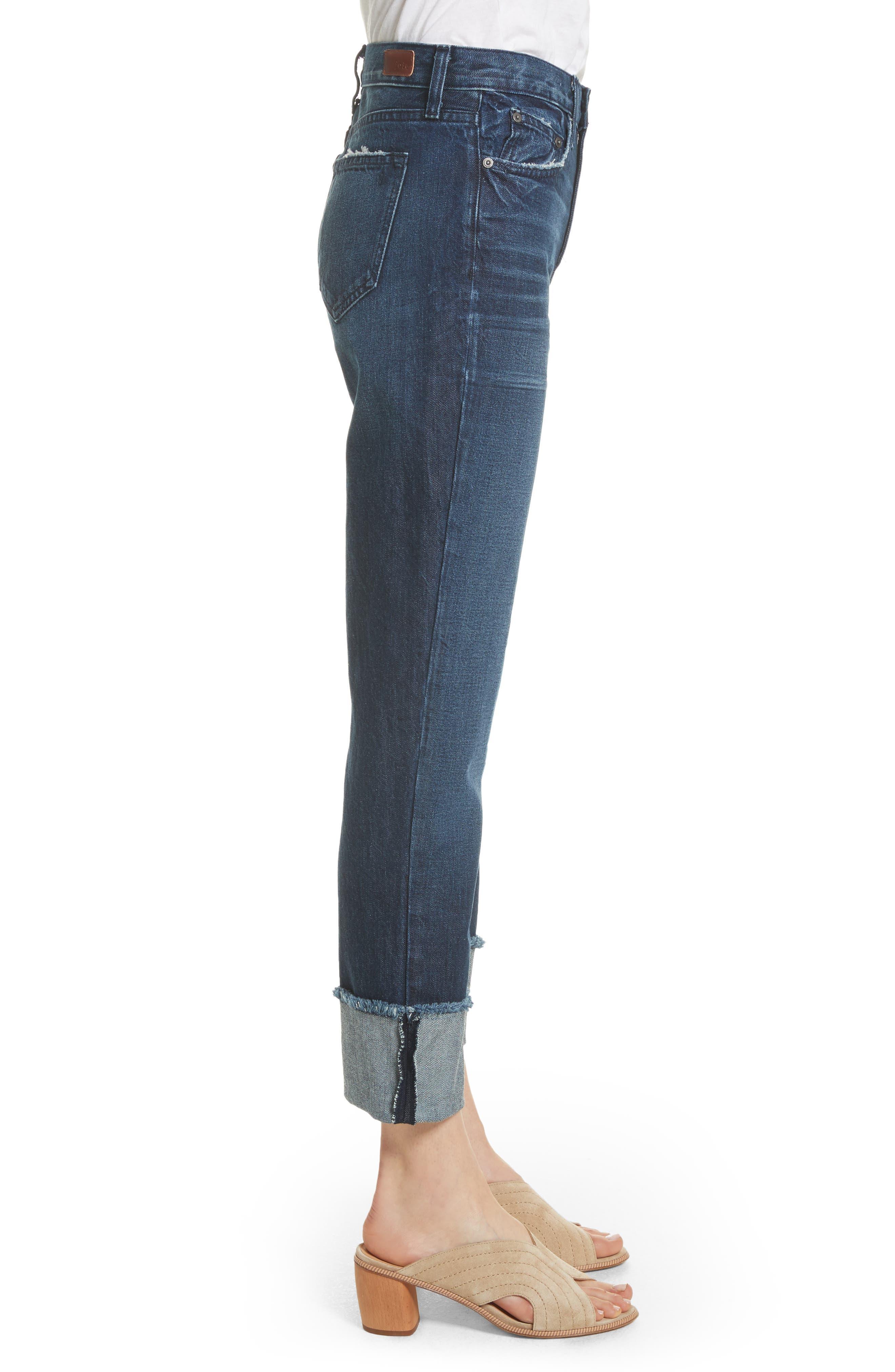 Josie Straight Leg Crop Cuff Jeans,                             Alternate thumbnail 3, color,                             Danseur