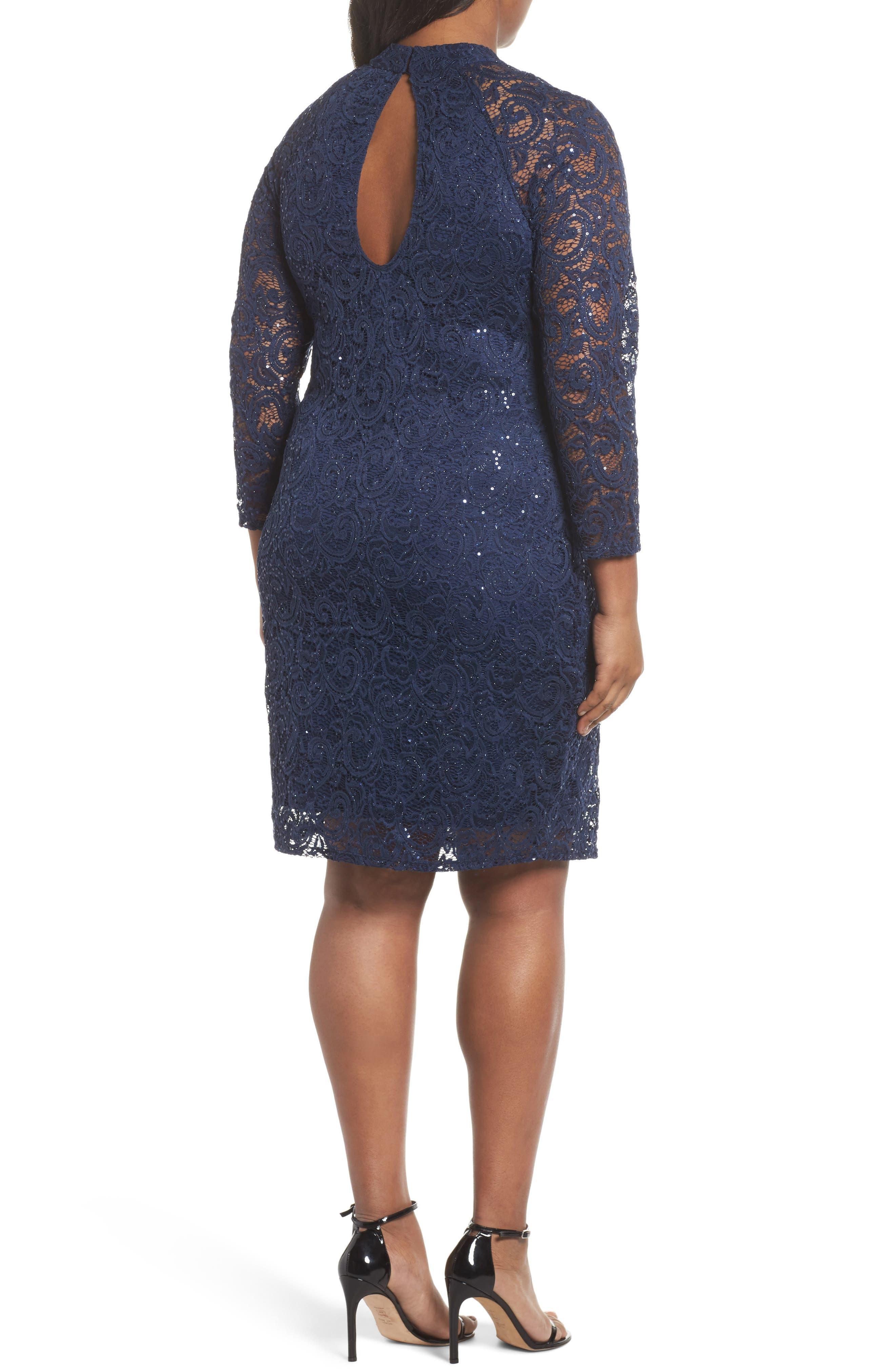 Alternate Image 2  - Marina Sequin Keyhole Sheath Dress (Plus Size)