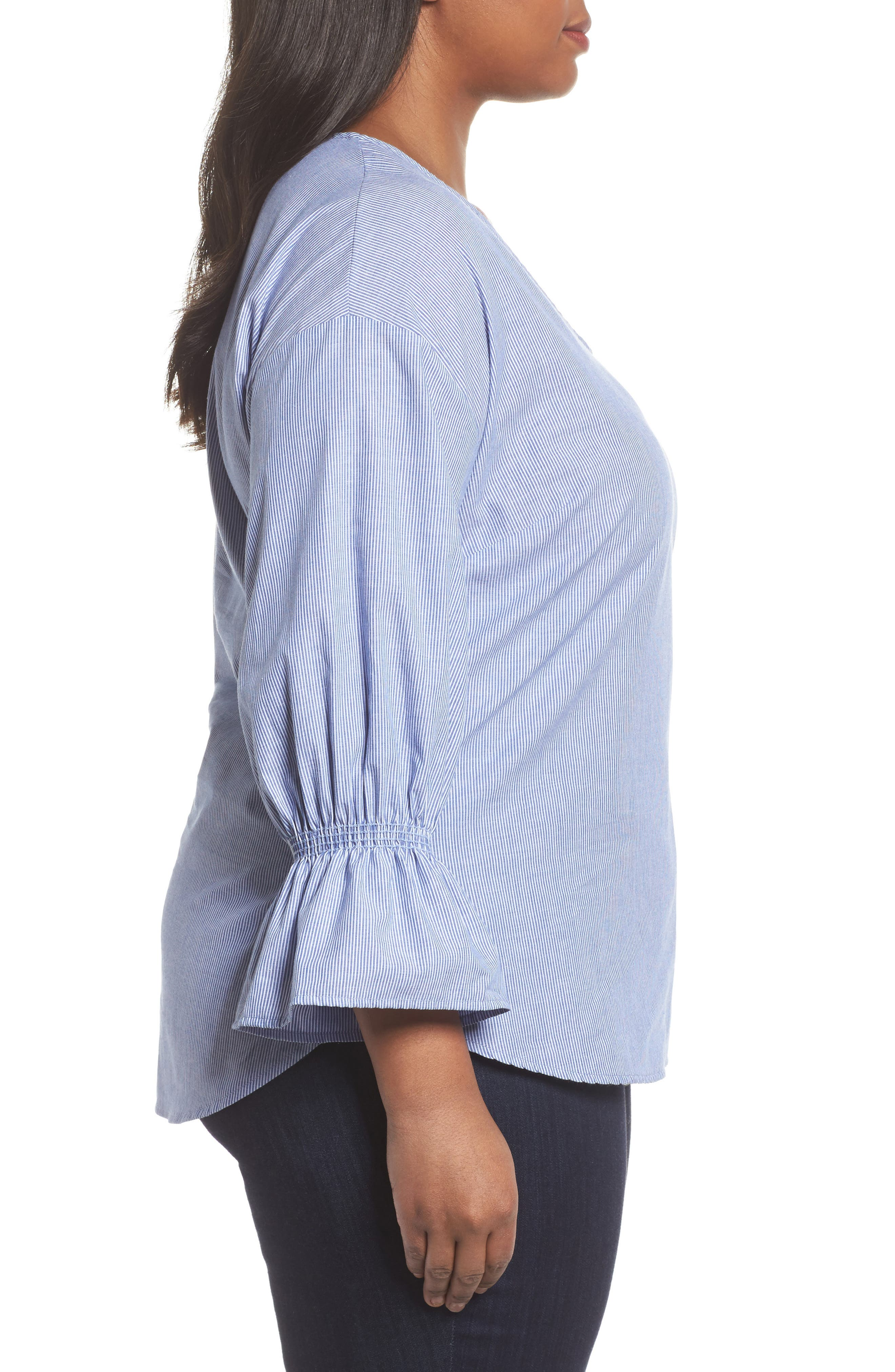 Pinstripe Bell Cuff Top,                             Alternate thumbnail 3, color,                             Blue Dark- Ivory Stripe