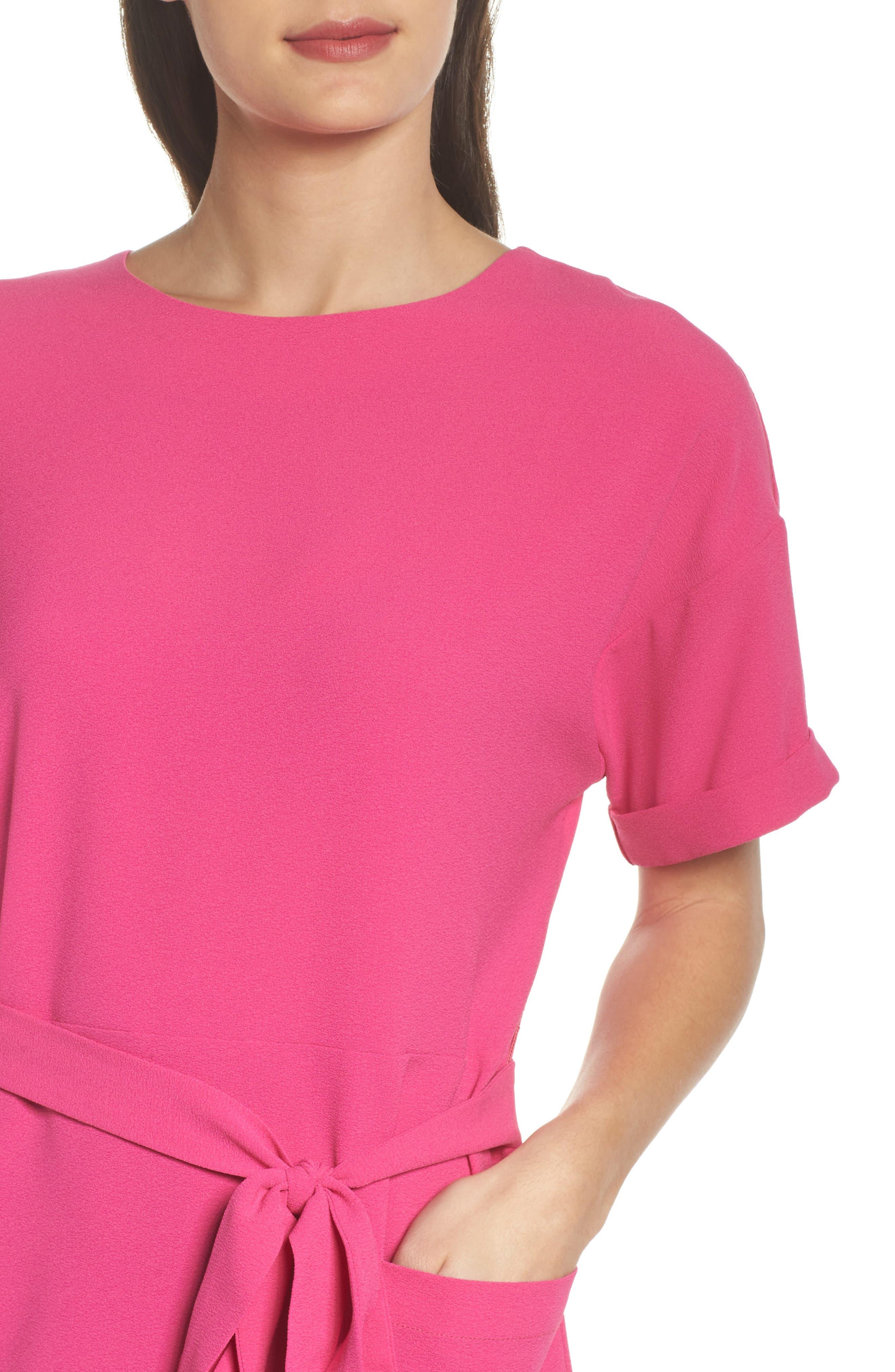 Halia Tie Waist Dress,                             Alternate thumbnail 4, color,                             Pink