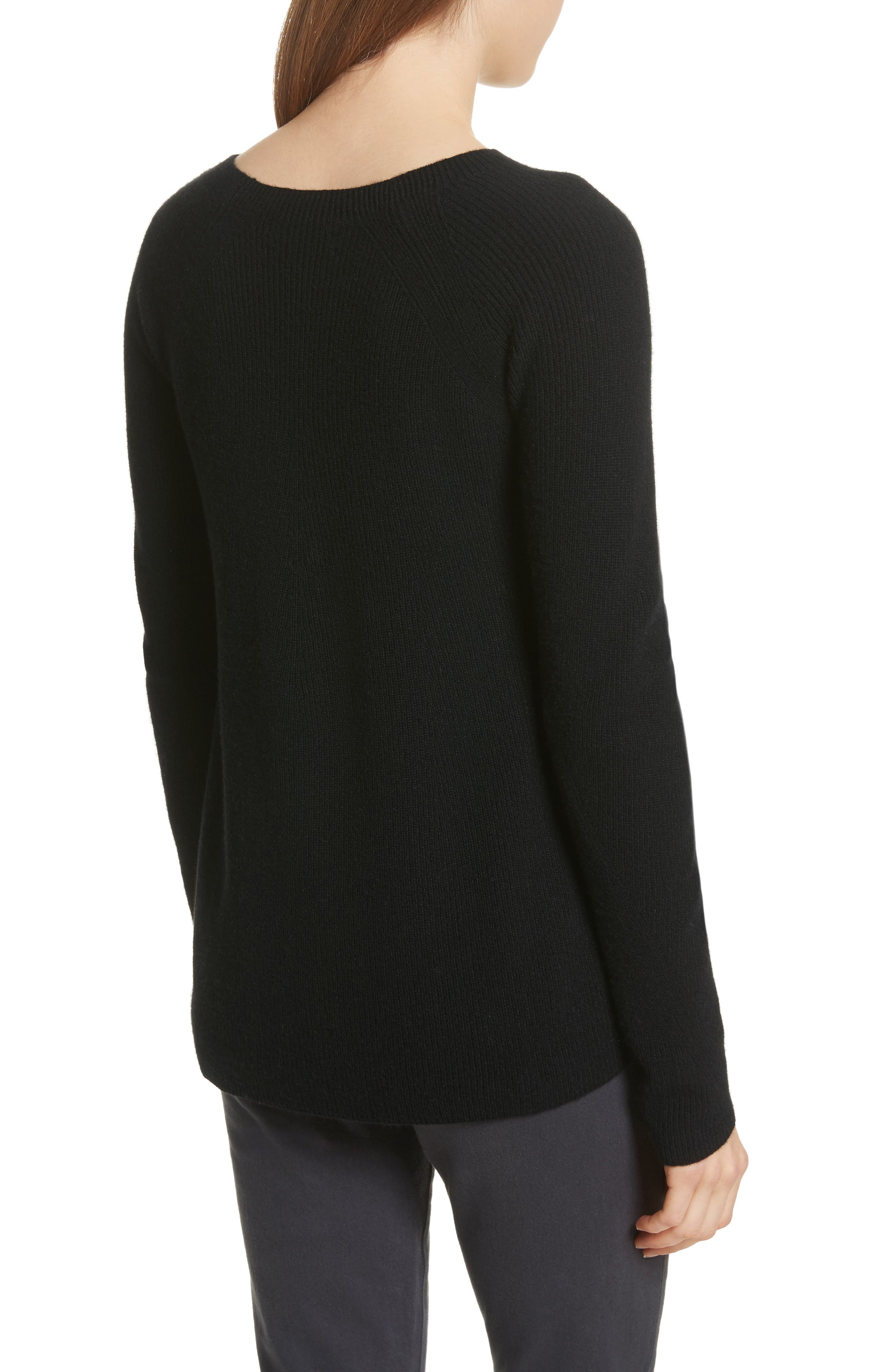 Ribbed Cashmere Sweater,                             Alternate thumbnail 2, color,                             Black