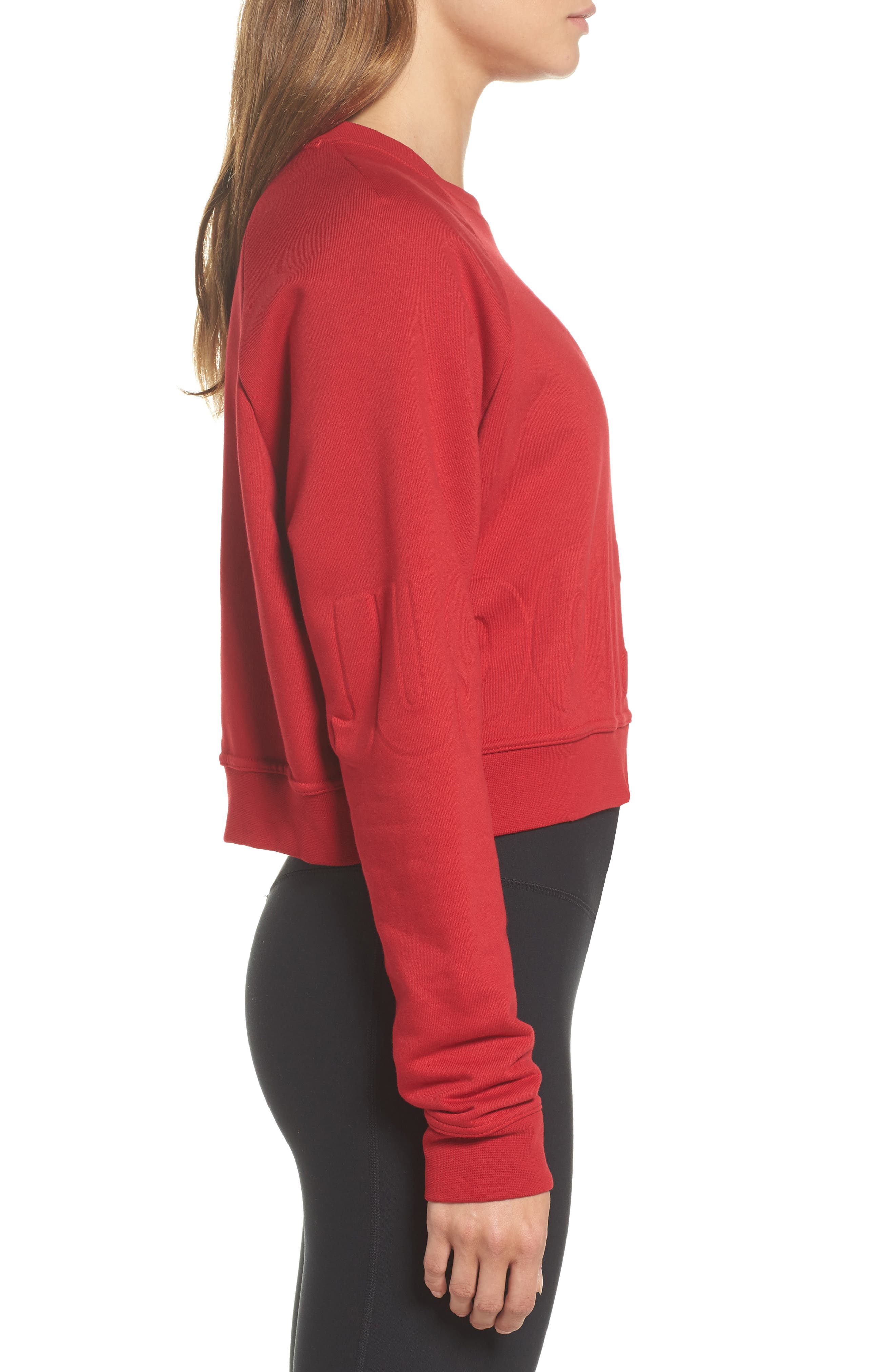 Long Sleeve Crop Training Top,                             Alternate thumbnail 3, color,                             Gym Red/ Black