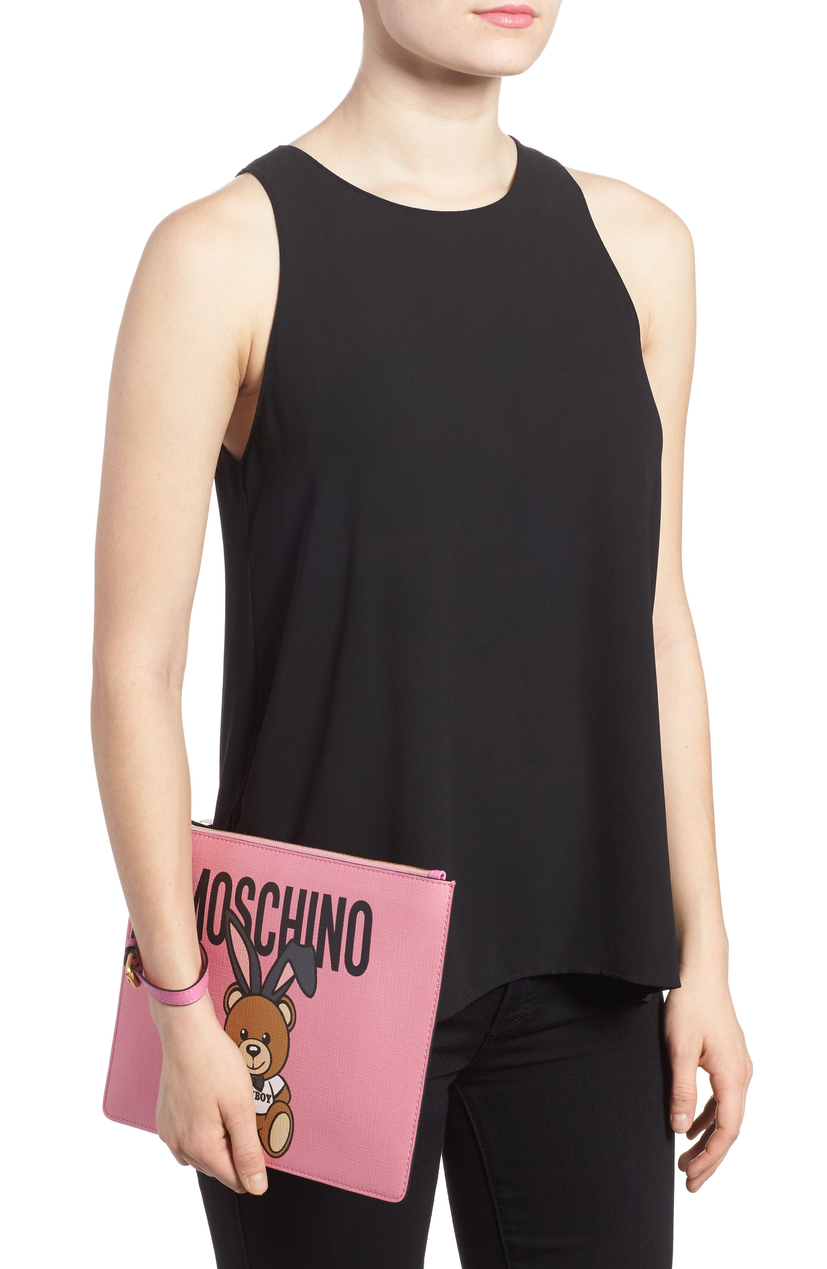 Alternate Image 2  - Moschino x Playboy Bunny Bear Leather Pouch