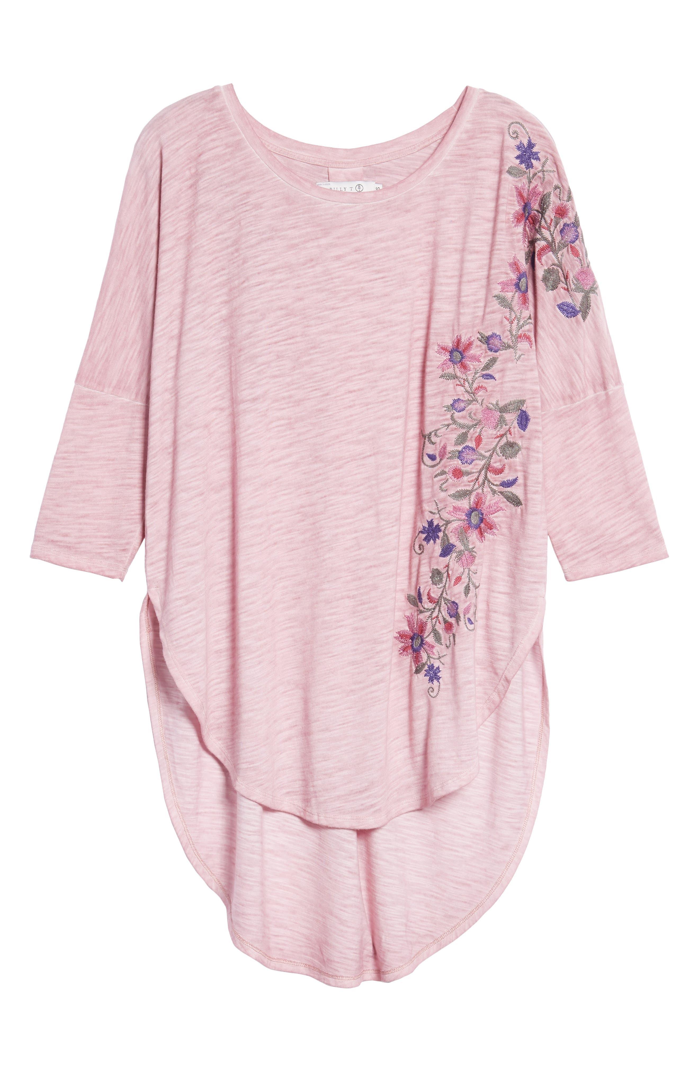 Embroidered Slub Knit Top,                             Alternate thumbnail 6, color,                             Dark Pink