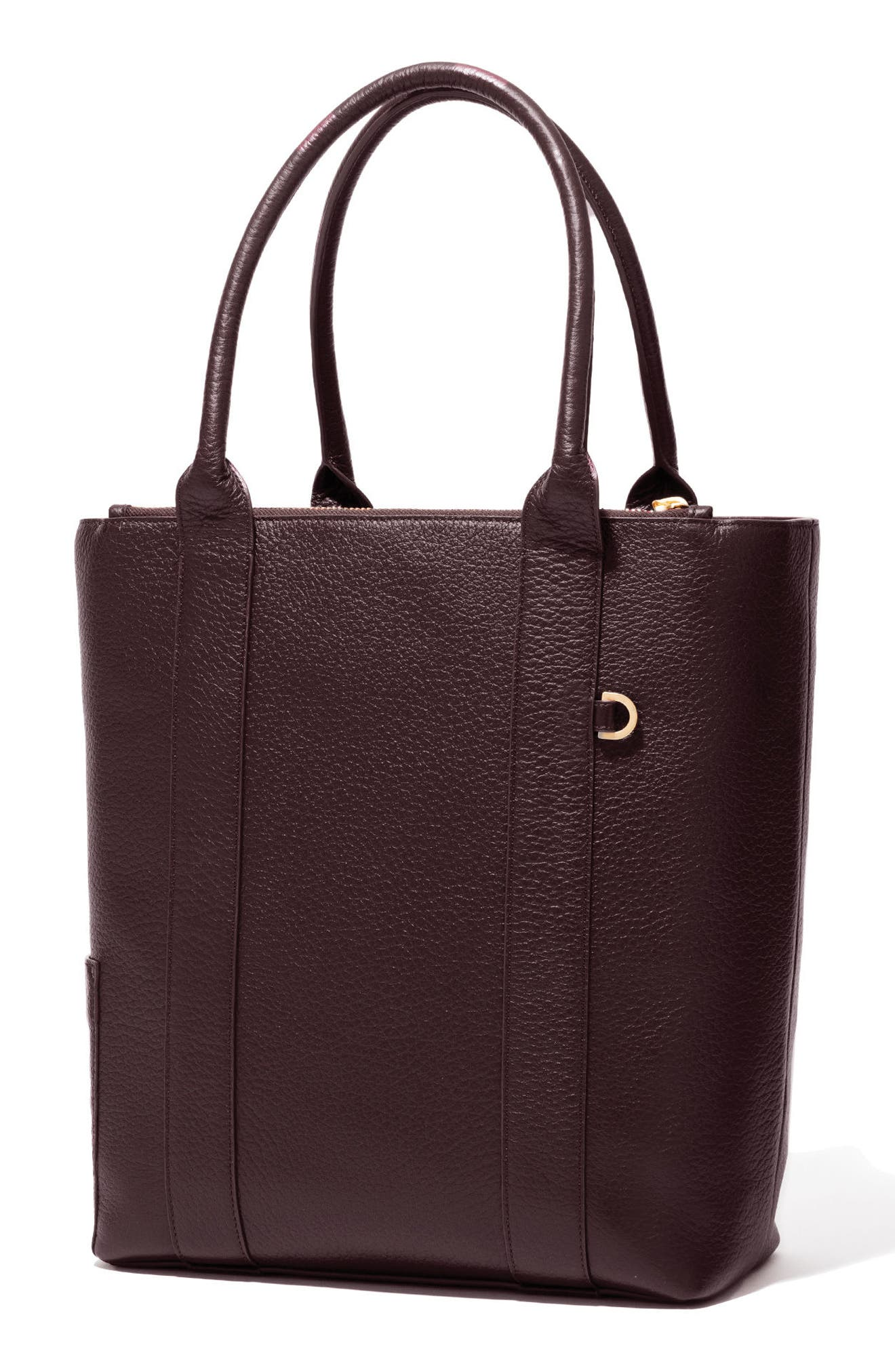 Charlie Leather Tote,                             Alternate thumbnail 4, color,                             Oxblood