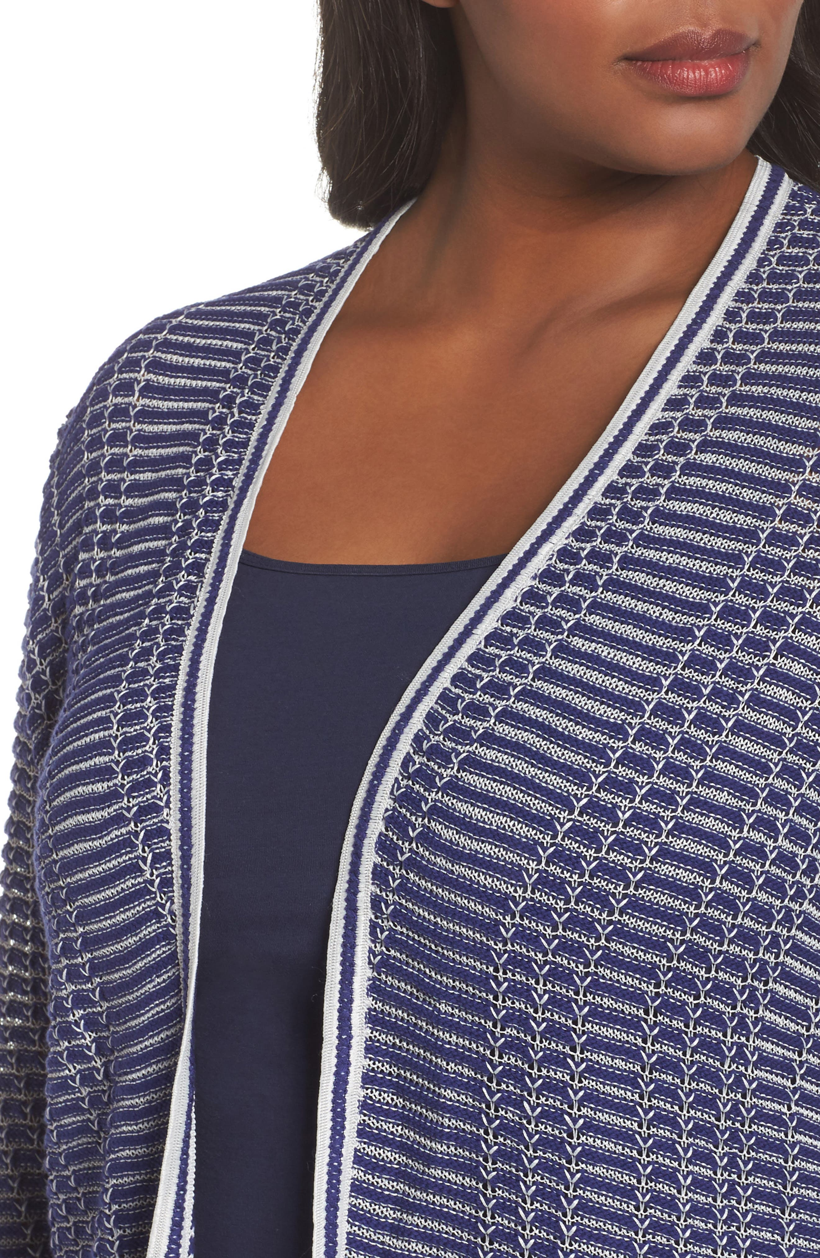 Striped Space Cardigan,                             Alternate thumbnail 4, color,                             Electric Blue