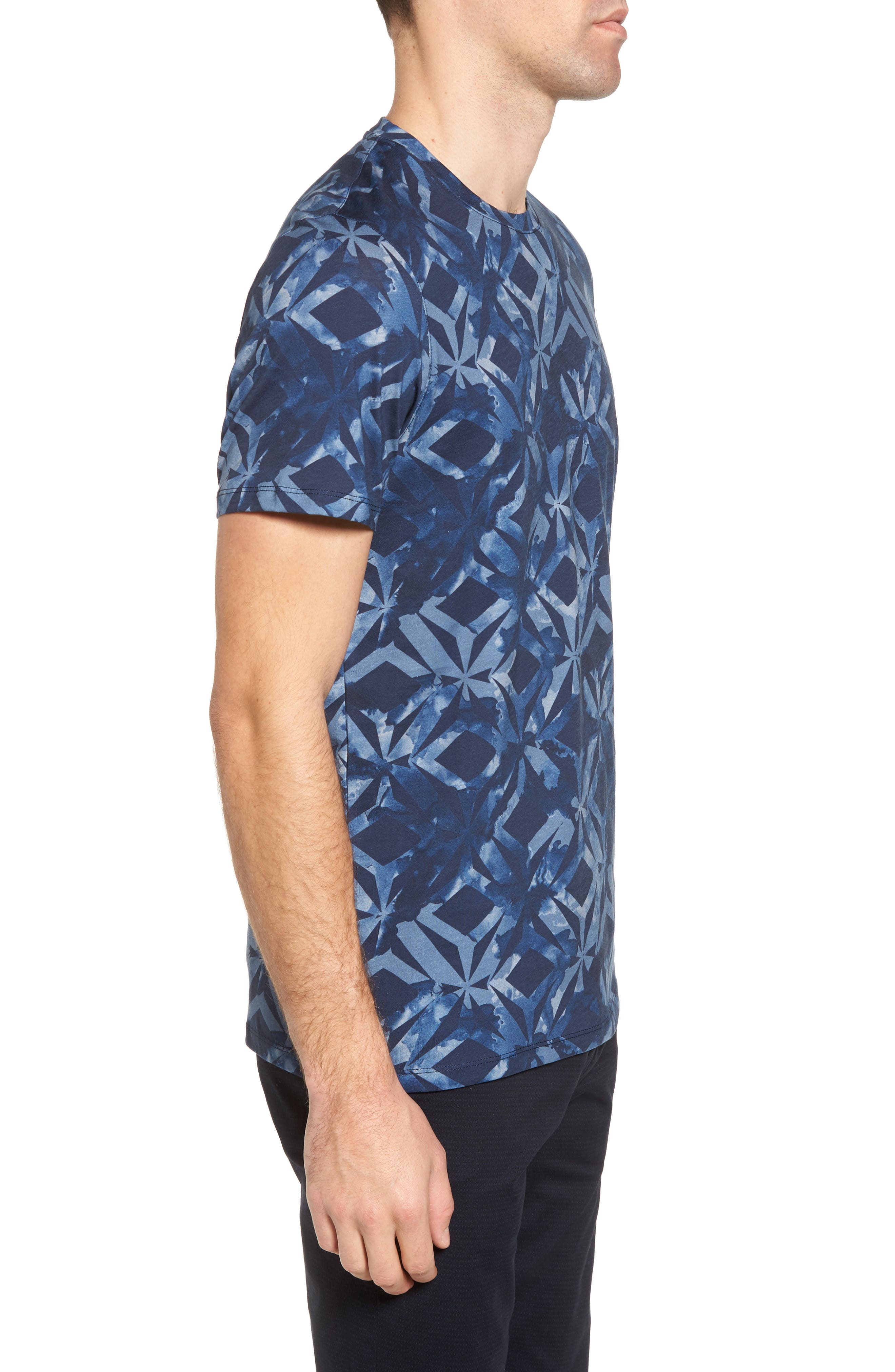 Woof Batik Print T-Shirt,                             Alternate thumbnail 3, color,                             Dark Blue