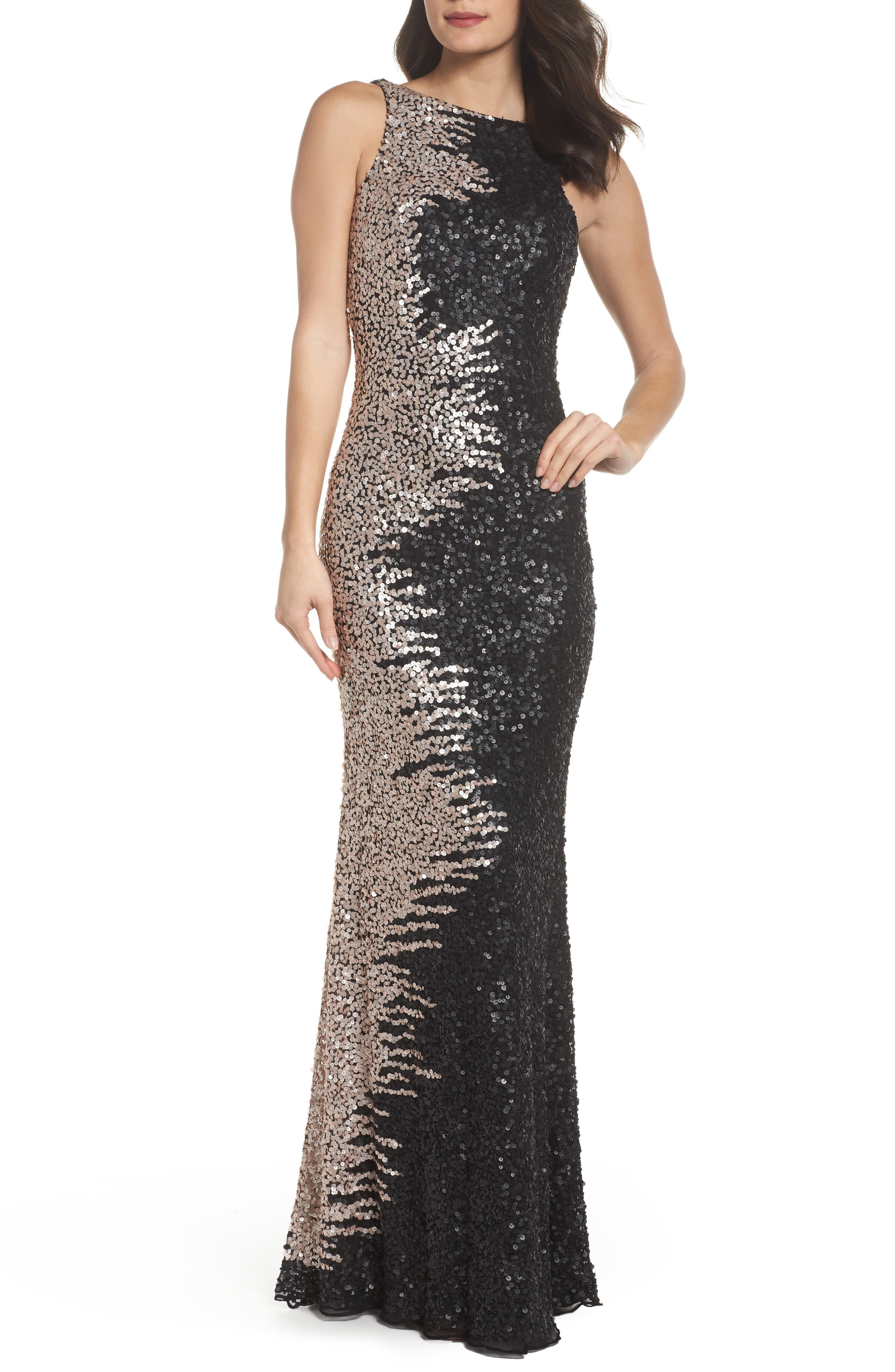 Cowl Back Sequin Gown,                             Main thumbnail 1, color,                             Black/Nude