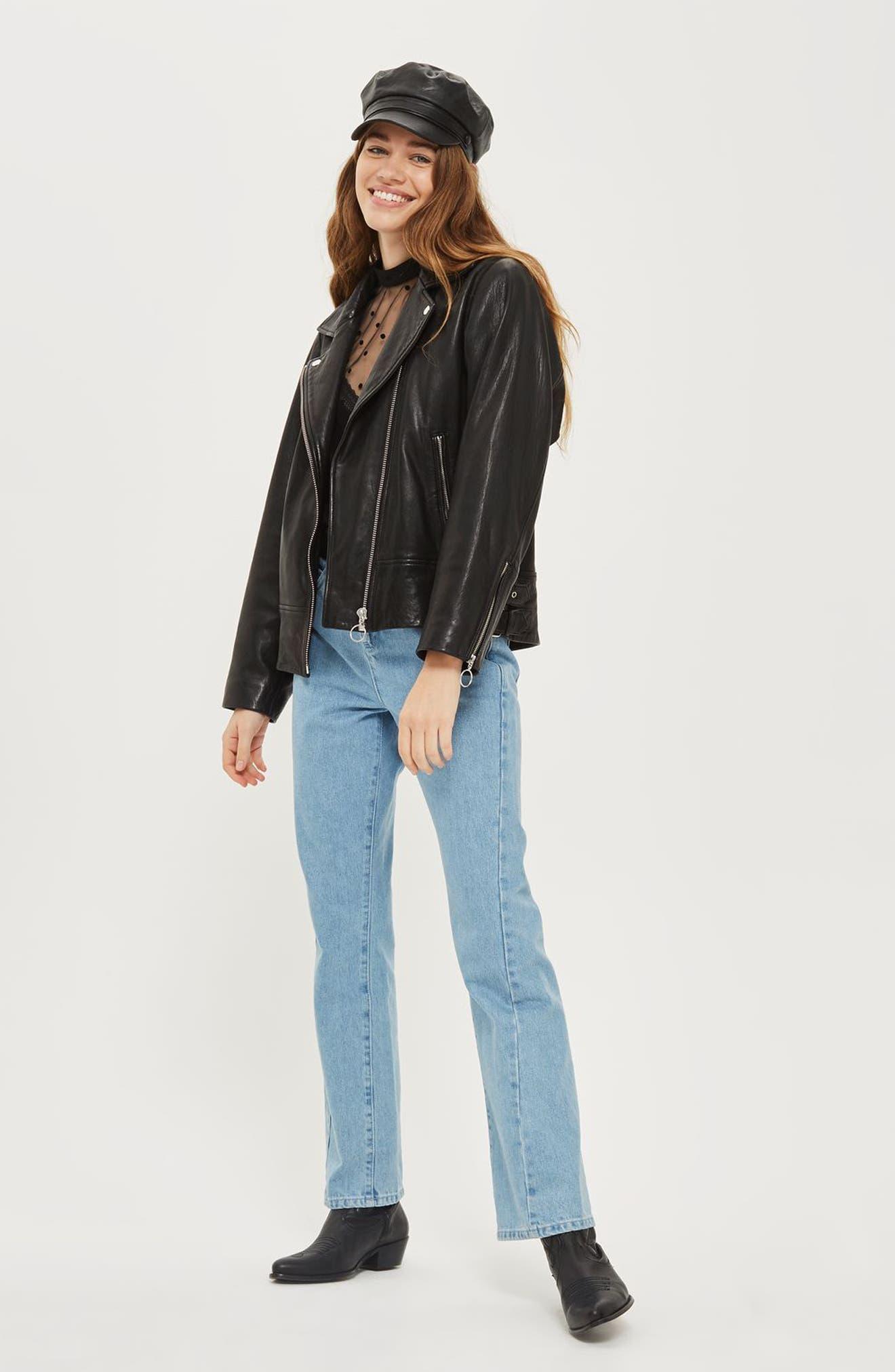 Brigitte Oversized Leather Biker Jacket,                             Alternate thumbnail 3, color,                             Black