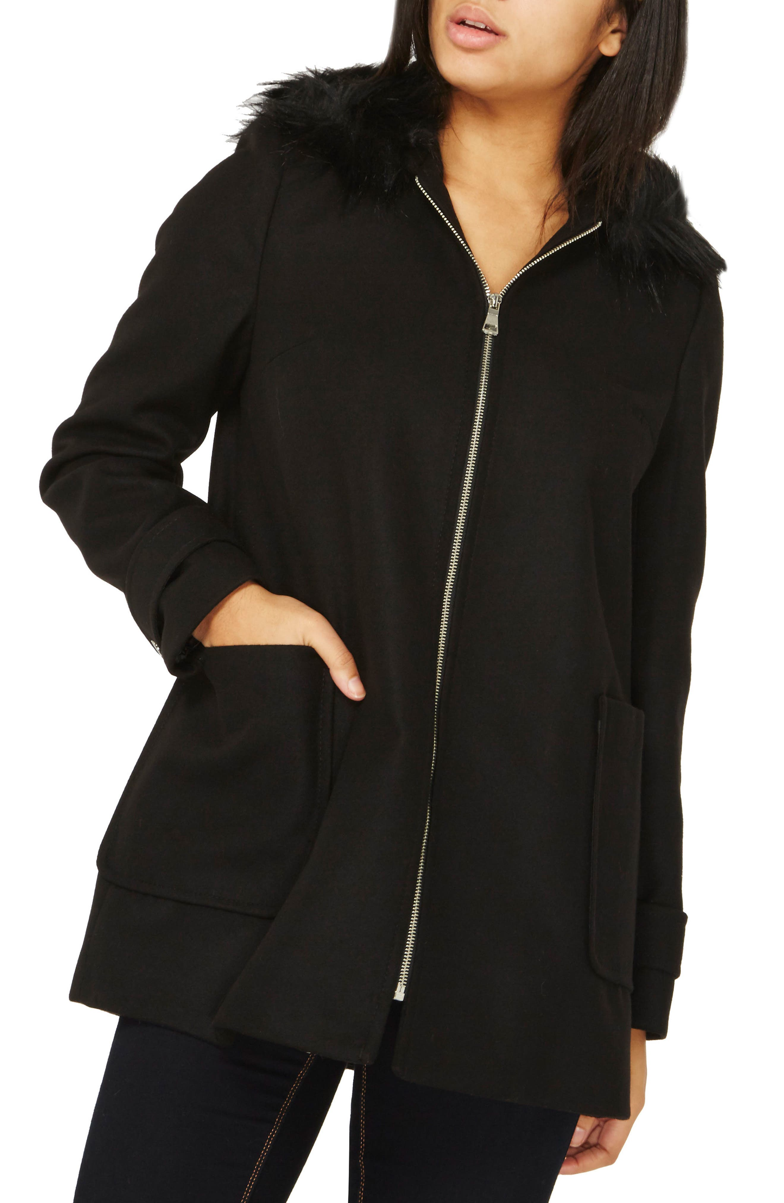 Hooded Duffle Coat with Faux Fur Trim,                         Main,                         color, Black
