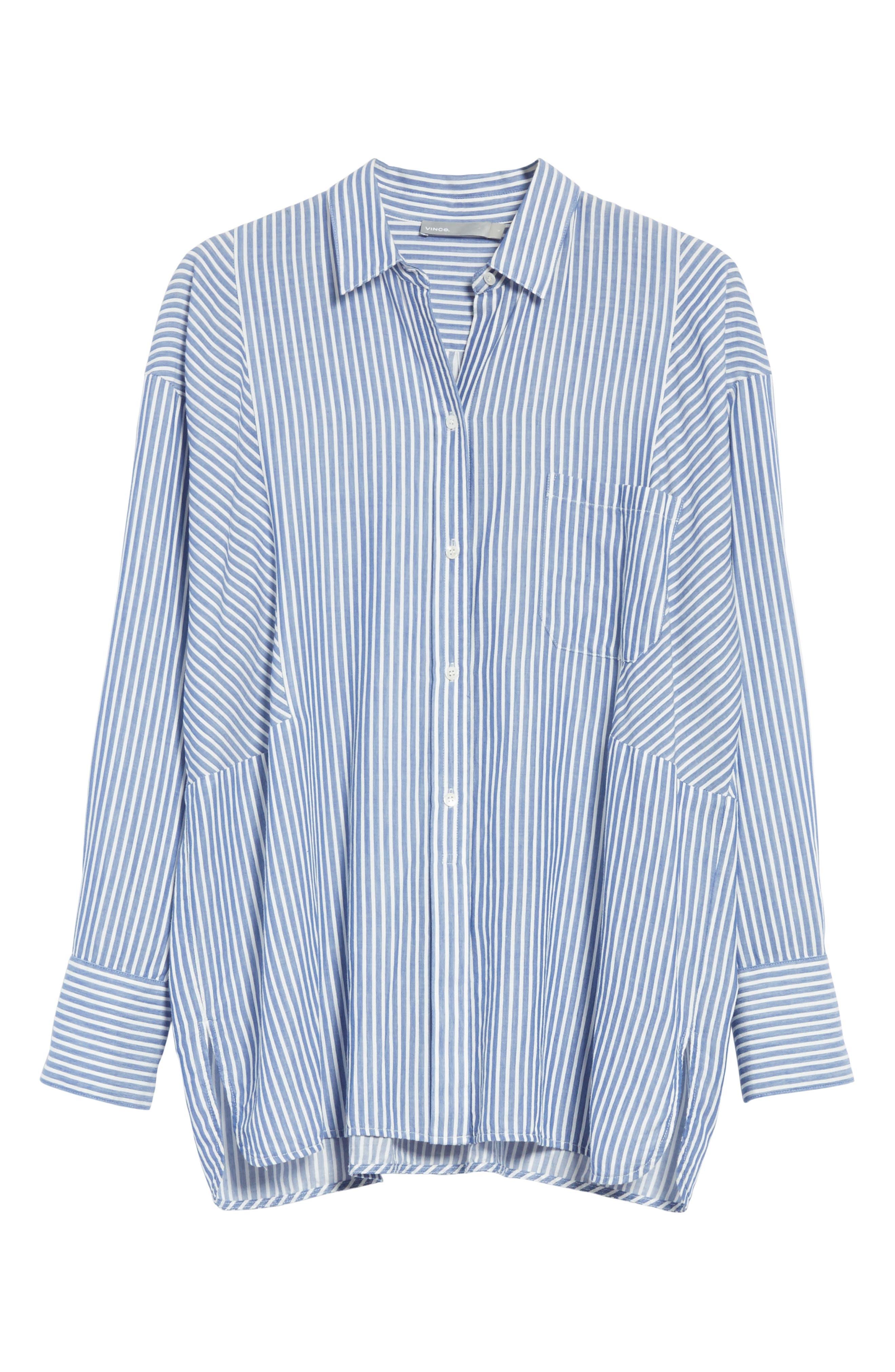 Classic Stripe Cotton Blend Tunic,                             Alternate thumbnail 6, color,                             White/ Blue