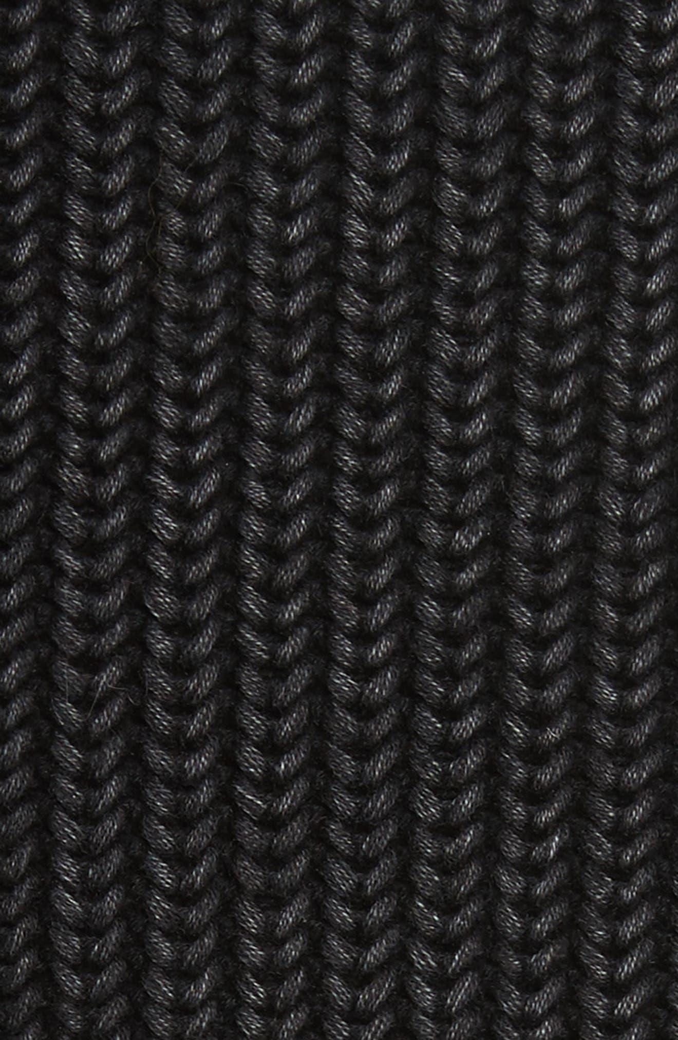 Chunky Knit Hoodie,                             Alternate thumbnail 6, color,                             Black Acid Wash