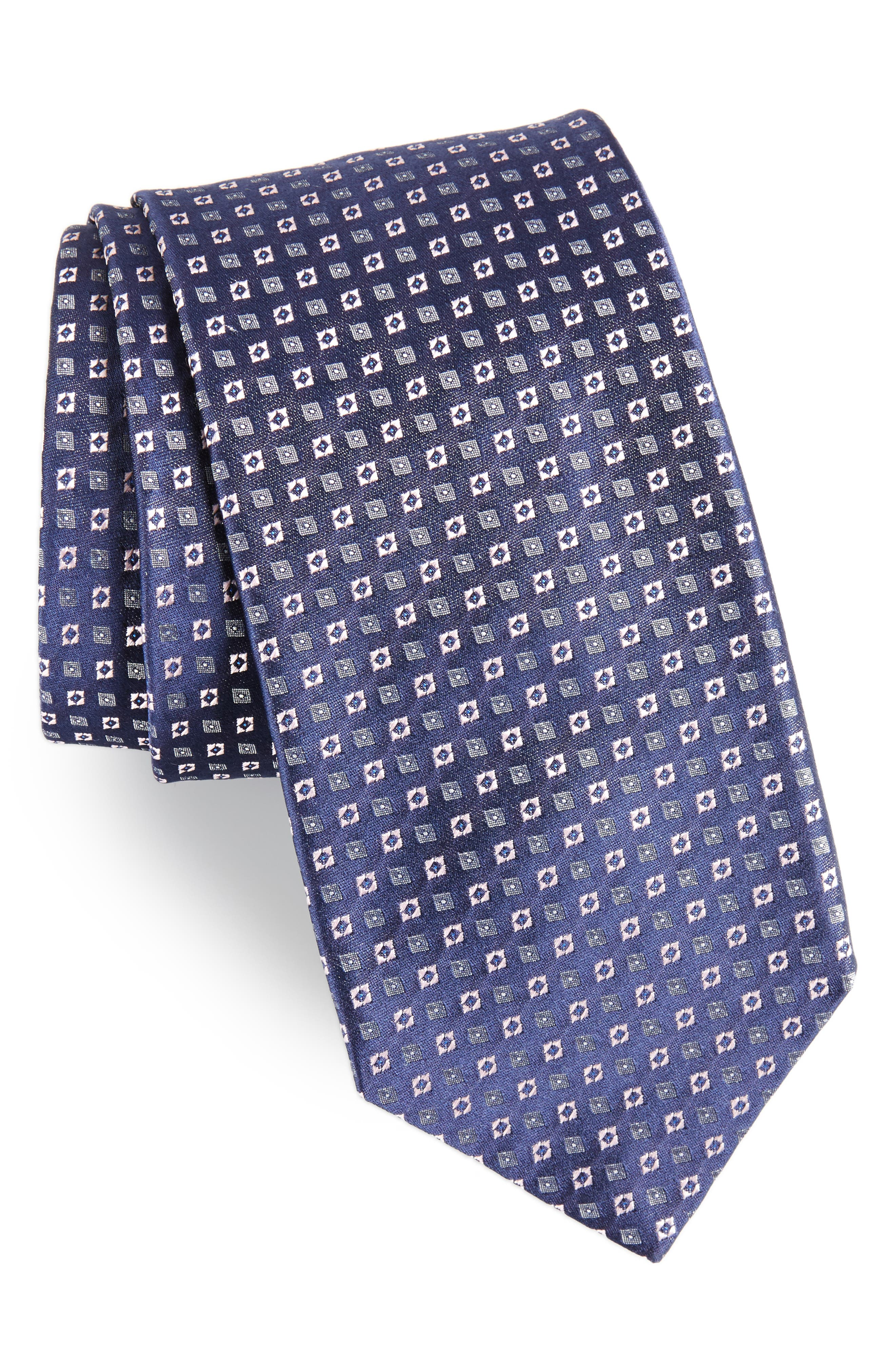 Medallion Neat Silk Tie,                         Main,                         color, Pink/ Navy