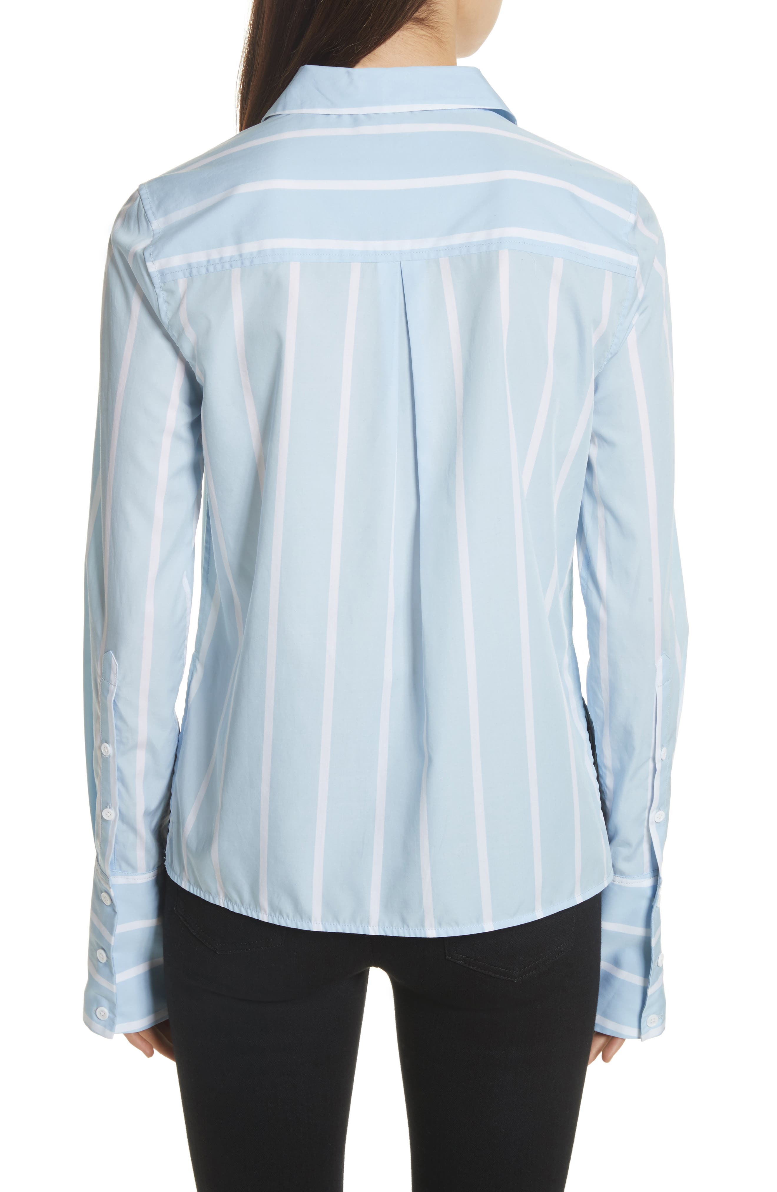 Huntley Embroidered Stripe Cotton Shirt,                             Alternate thumbnail 2, color,                             Skylight / Bright White