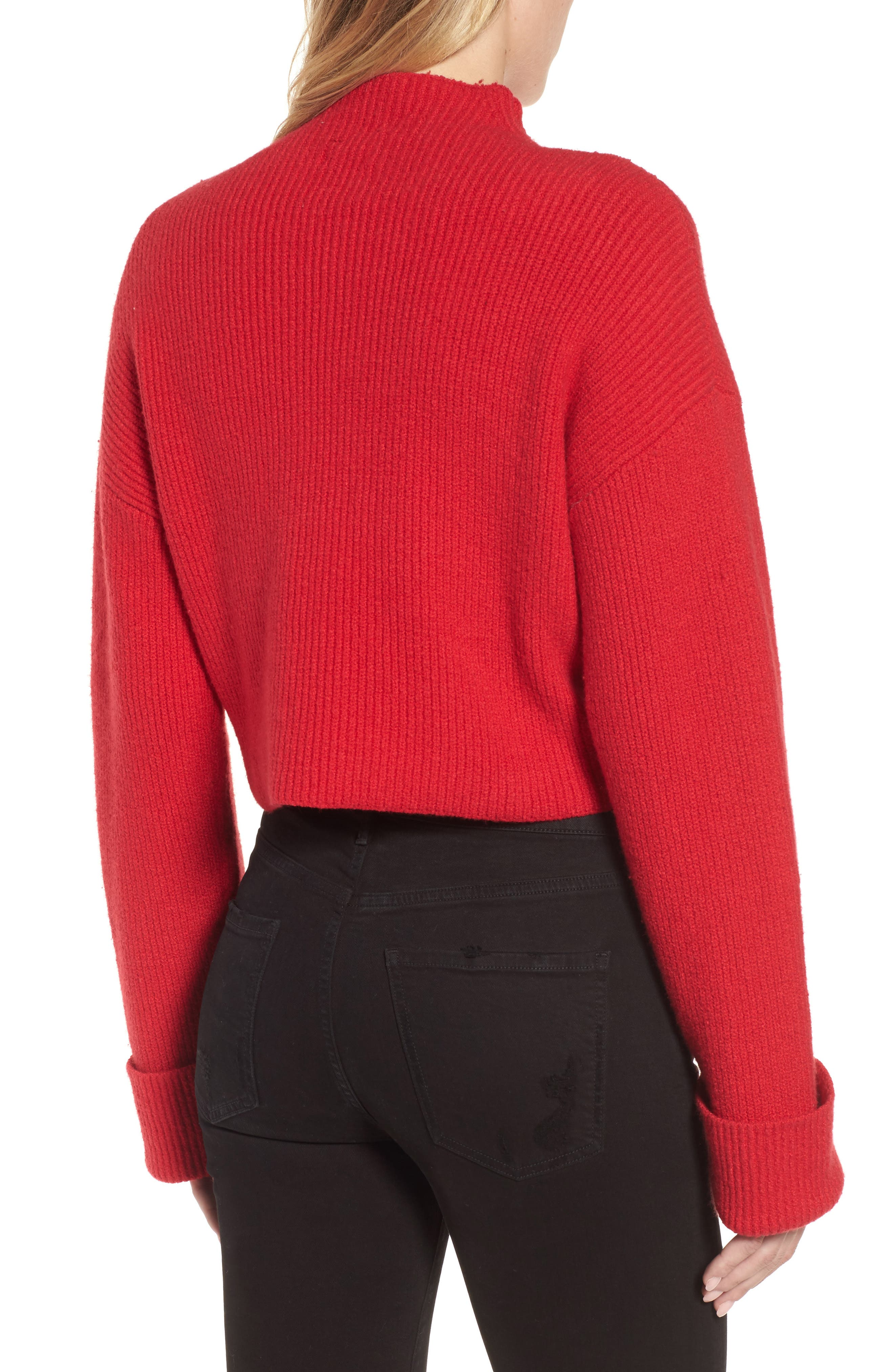 Wide Cuff Mock Neck Sweater,                             Alternate thumbnail 2, color,                             Patriot Red