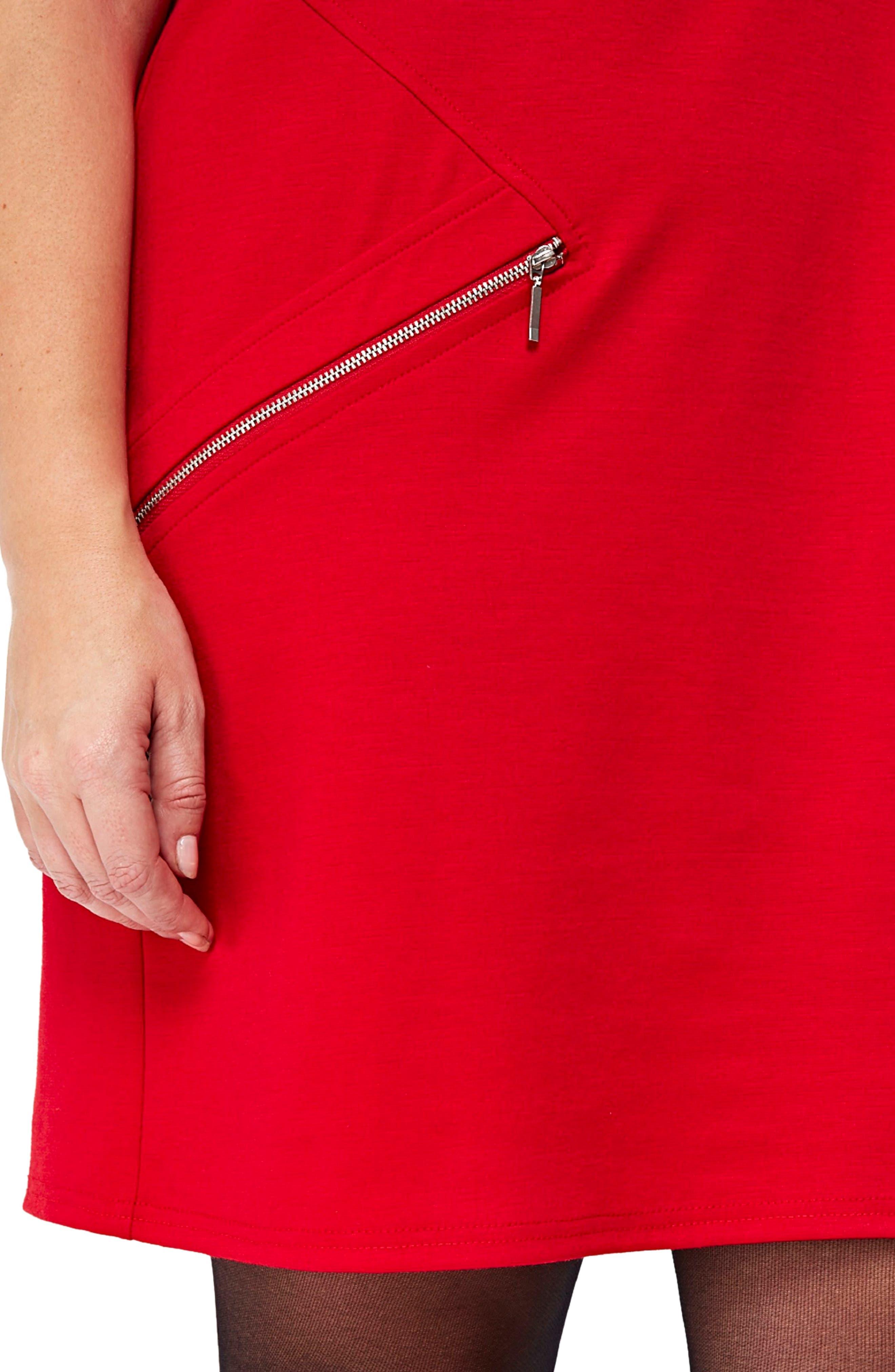 Ponte Knit Tunic Dress,                             Alternate thumbnail 3, color,                             Red