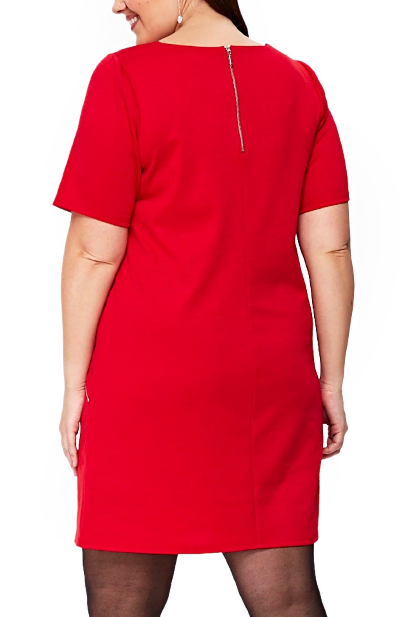 Ponte Knit Tunic Dress,                             Alternate thumbnail 2, color,                             Red