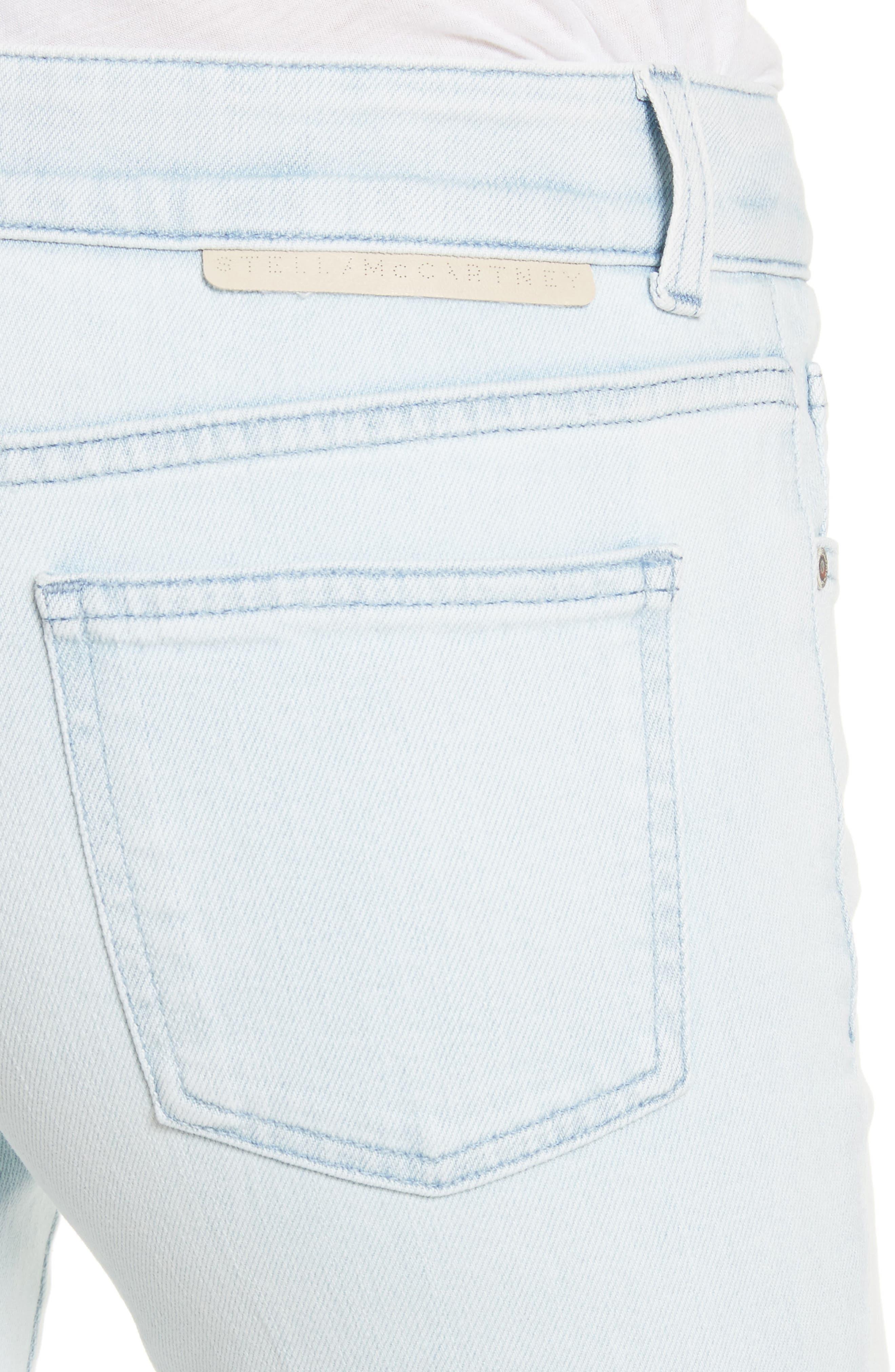Metallic Star Kick Flare Jeans,                             Alternate thumbnail 4, color,                             Sun Faded Blue