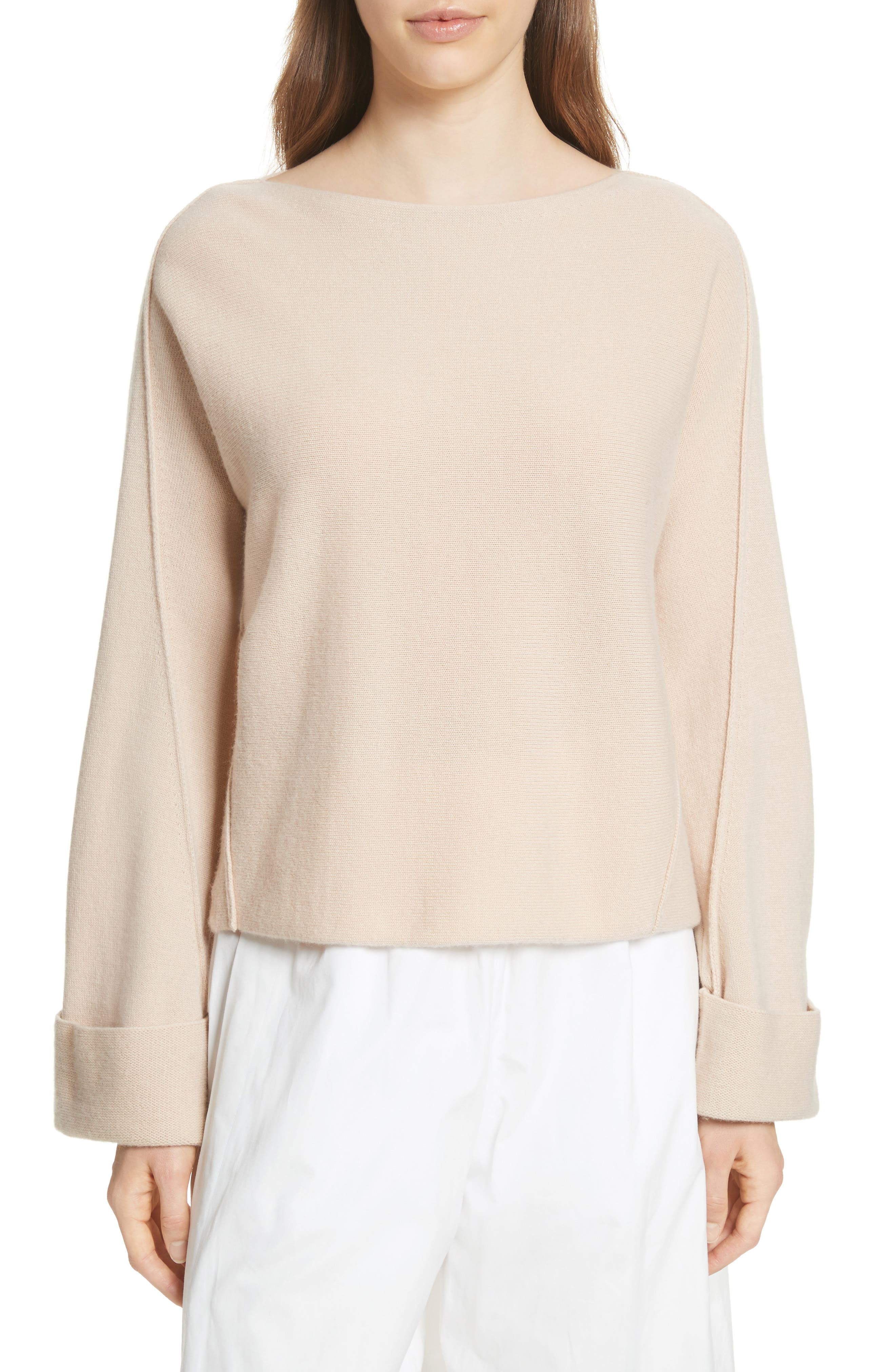 Cuffed Sleeve Wool & Cashmere Sweater,                             Main thumbnail 1, color,                             Praline