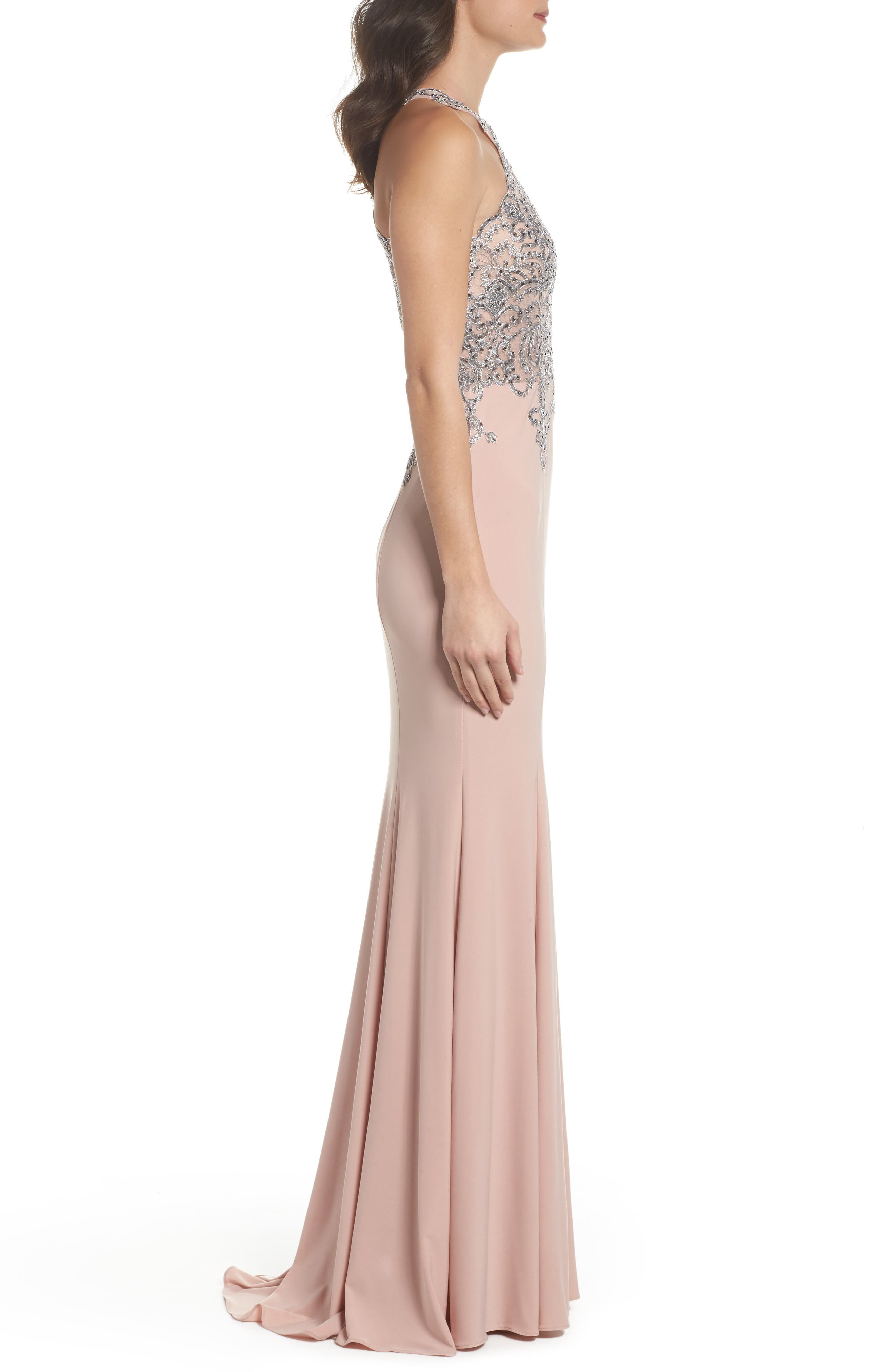 Embellished Embroidered Gown,                             Alternate thumbnail 3, color,                             Blush/ Gunmetal