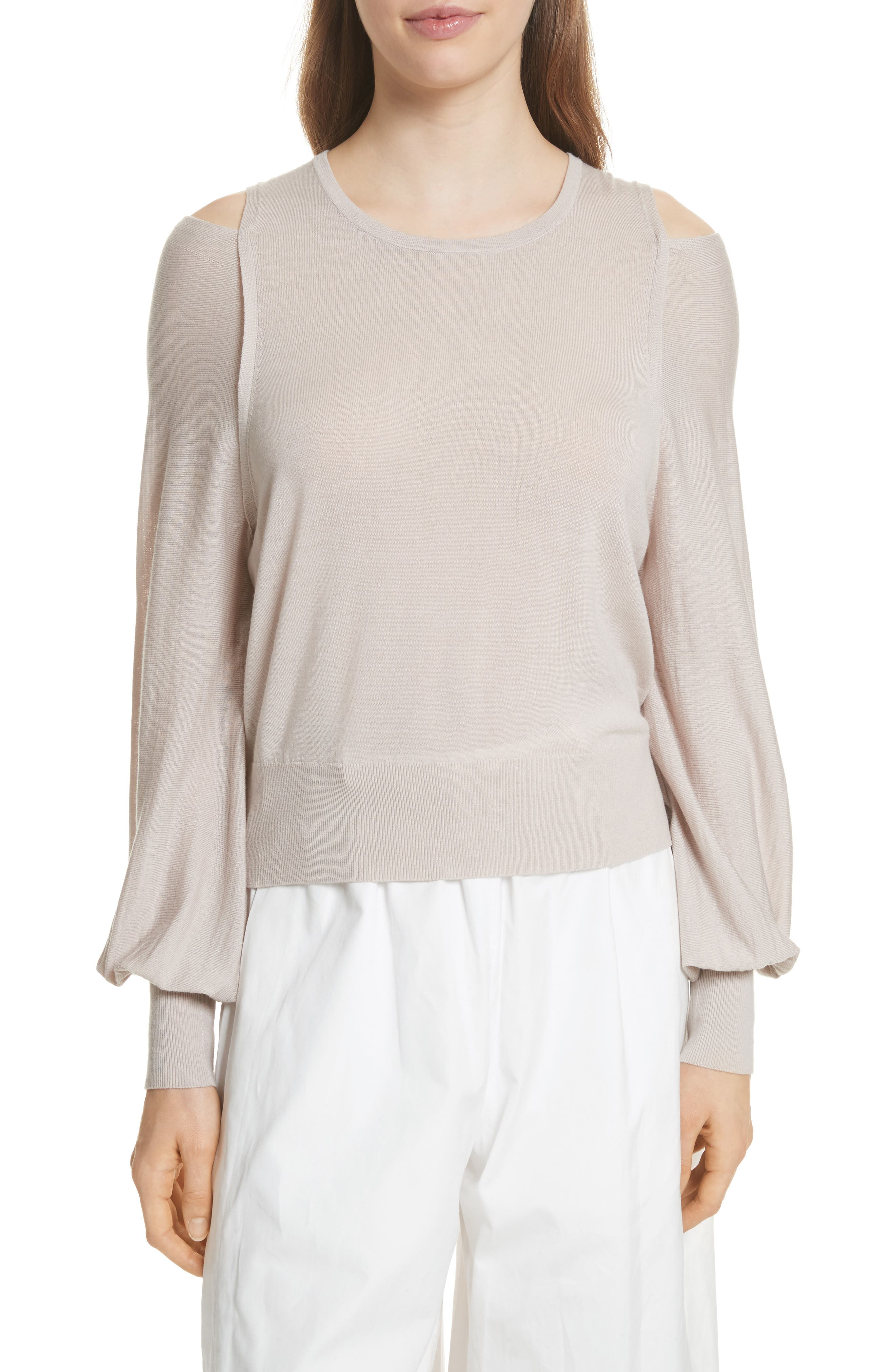Wool Cold Shoulder Sweater,                             Main thumbnail 1, color,                             Sandstone