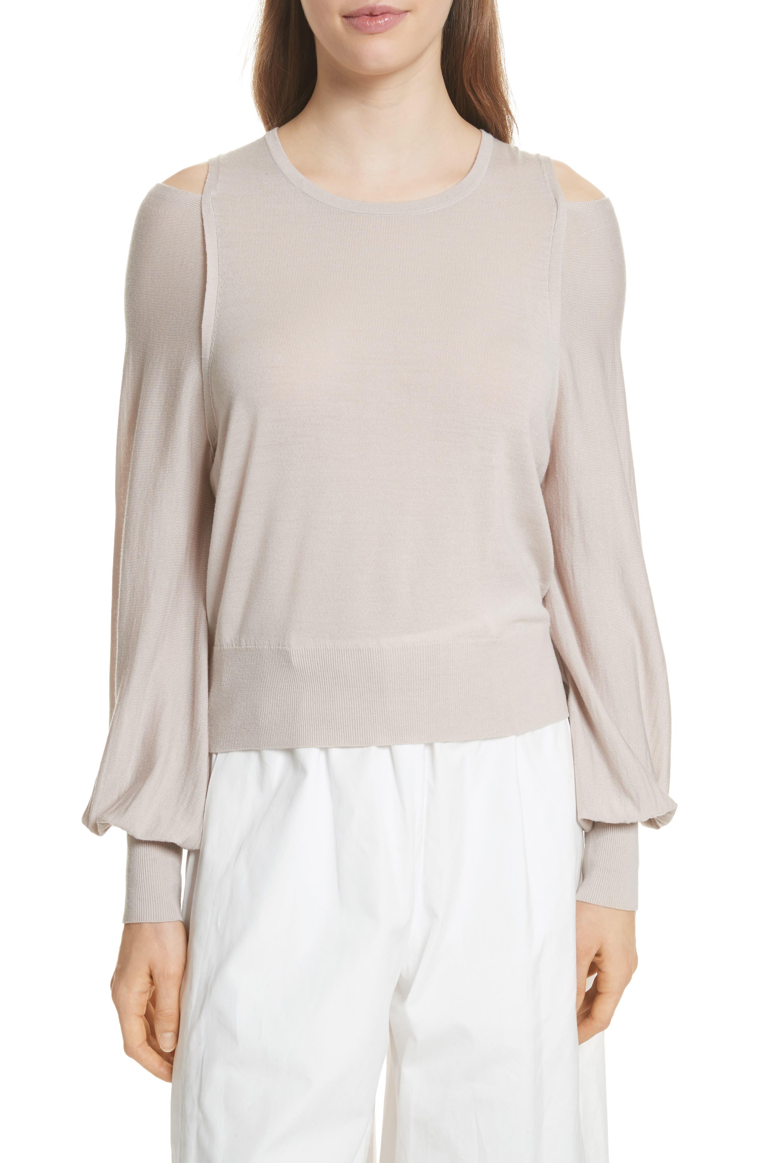 Wool Cold Shoulder Sweater,                         Main,                         color, Sandstone