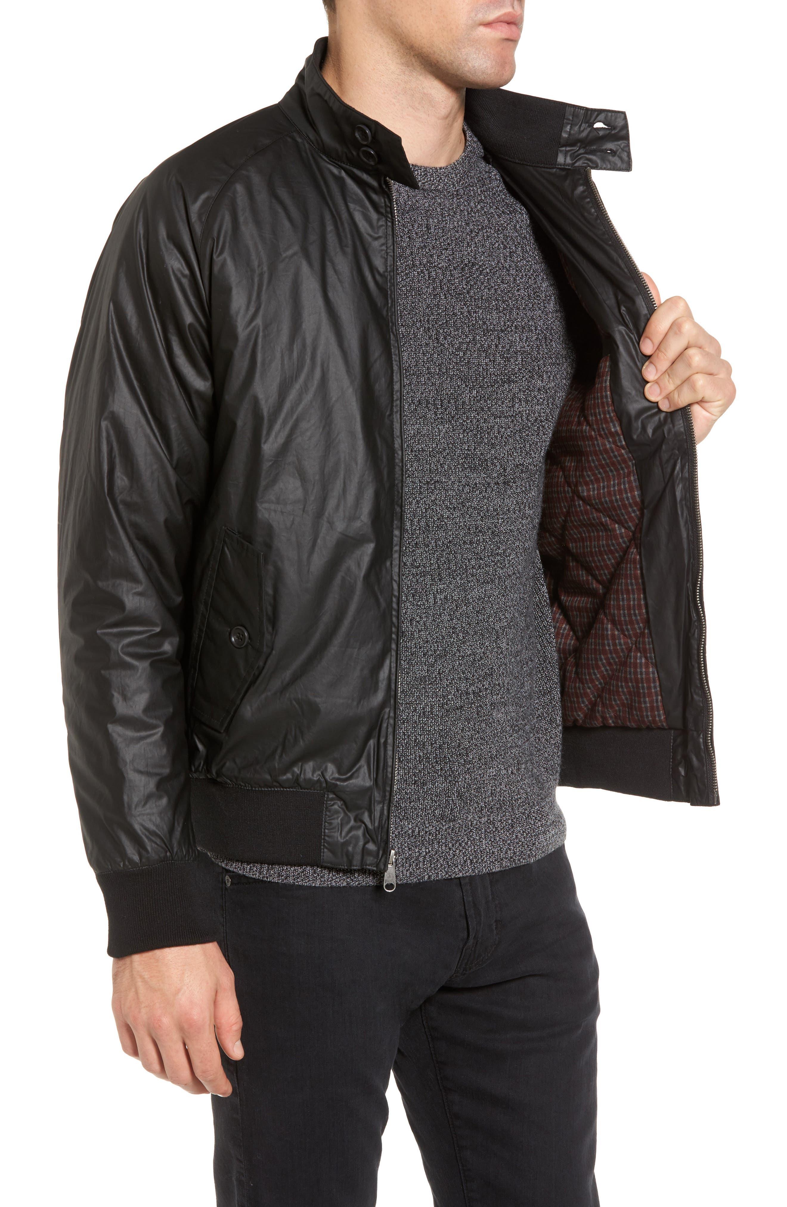 Insulated Harrington Jacket,                             Alternate thumbnail 3, color,                             Black