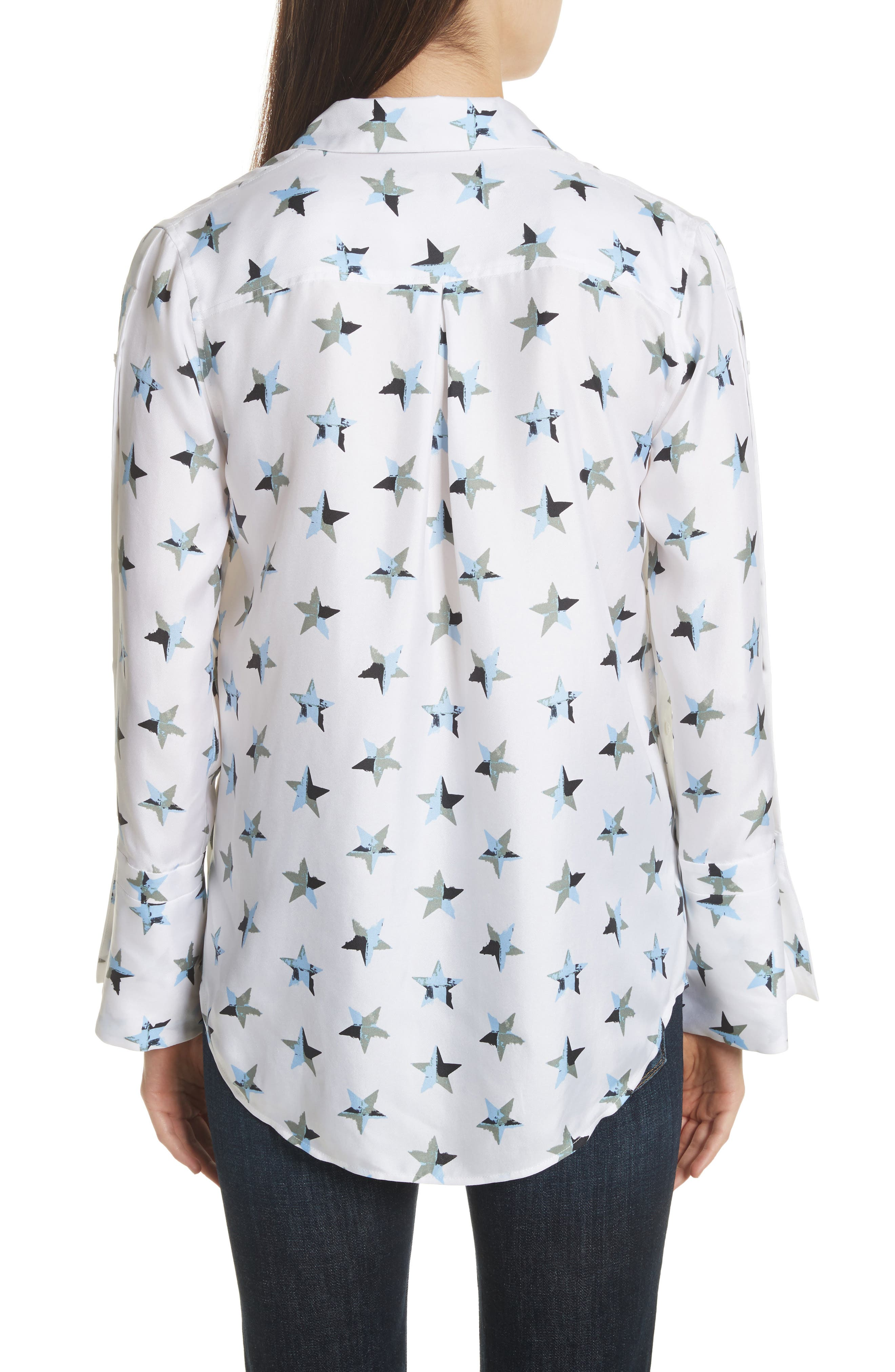 Rossi Button Detail Star Print Silk Shirt,                             Alternate thumbnail 2, color,                             Bright White Multi