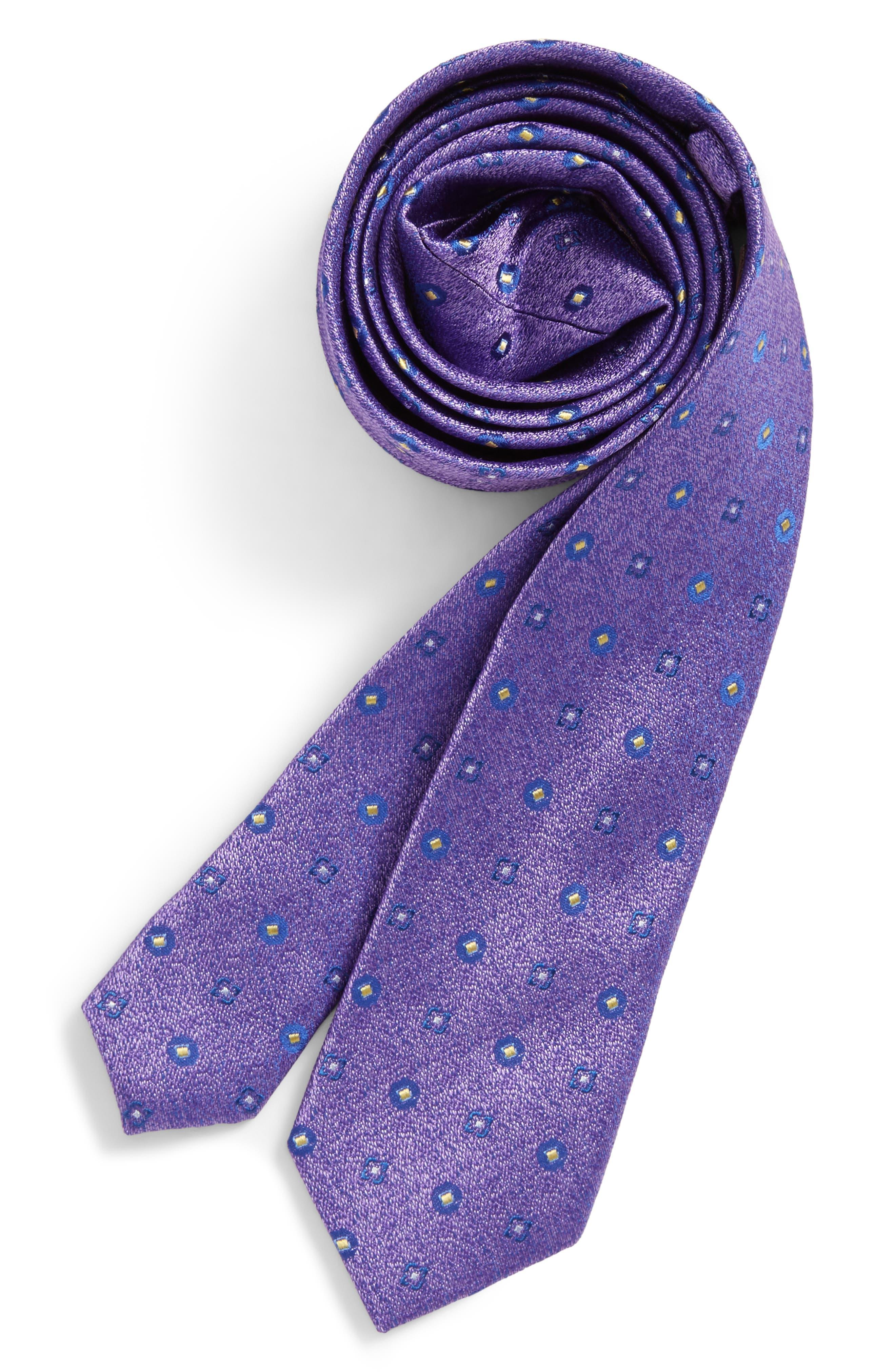 Neat Medallion Silk Tie,                             Main thumbnail 1, color,                             Purple