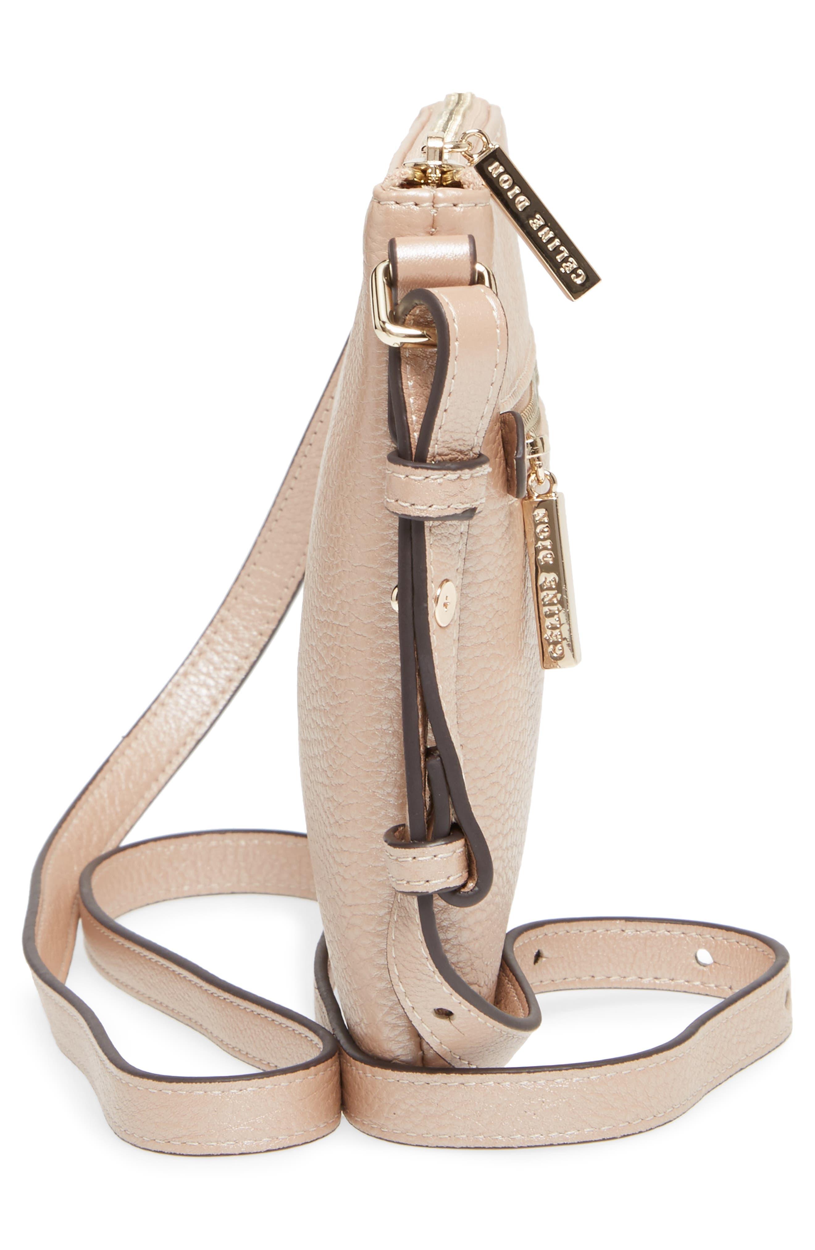 Céline Dion Adagio Leather Crossbody Bag,                             Alternate thumbnail 4, color,                             Rose Gold